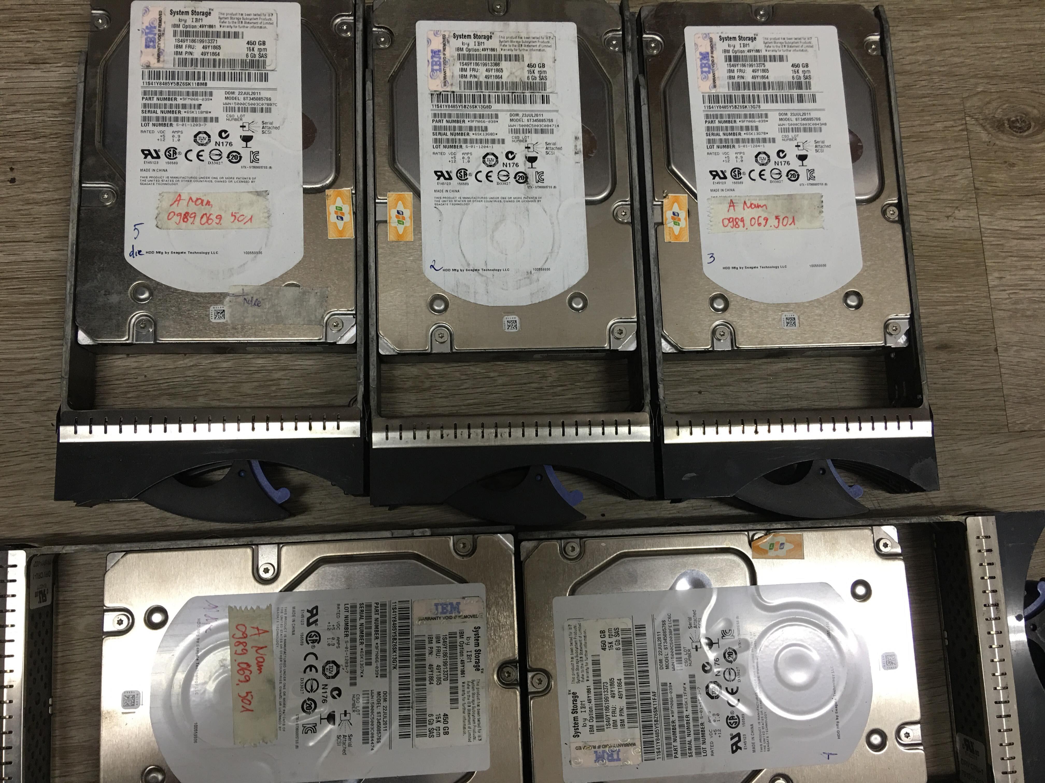 Cứu dữ liệu máy chủ IBM với 5HDDx450GB raid 5 lỗi 2HDD 05/08/2019 - cuumaytinh