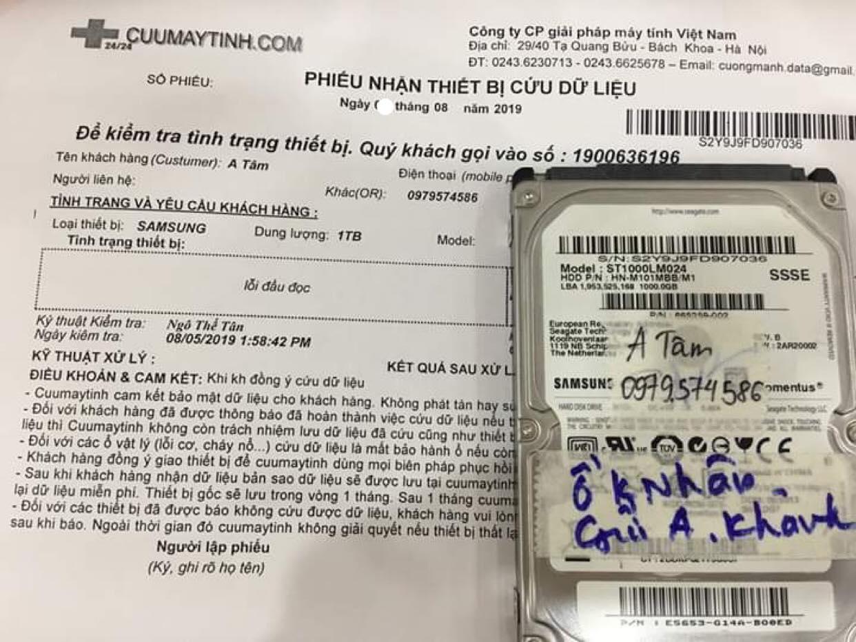 Phục hồi dữ liệu ổ cứng Samsung 1TB lỗi đầu đọc 15/08/2019 - cuumaytinh