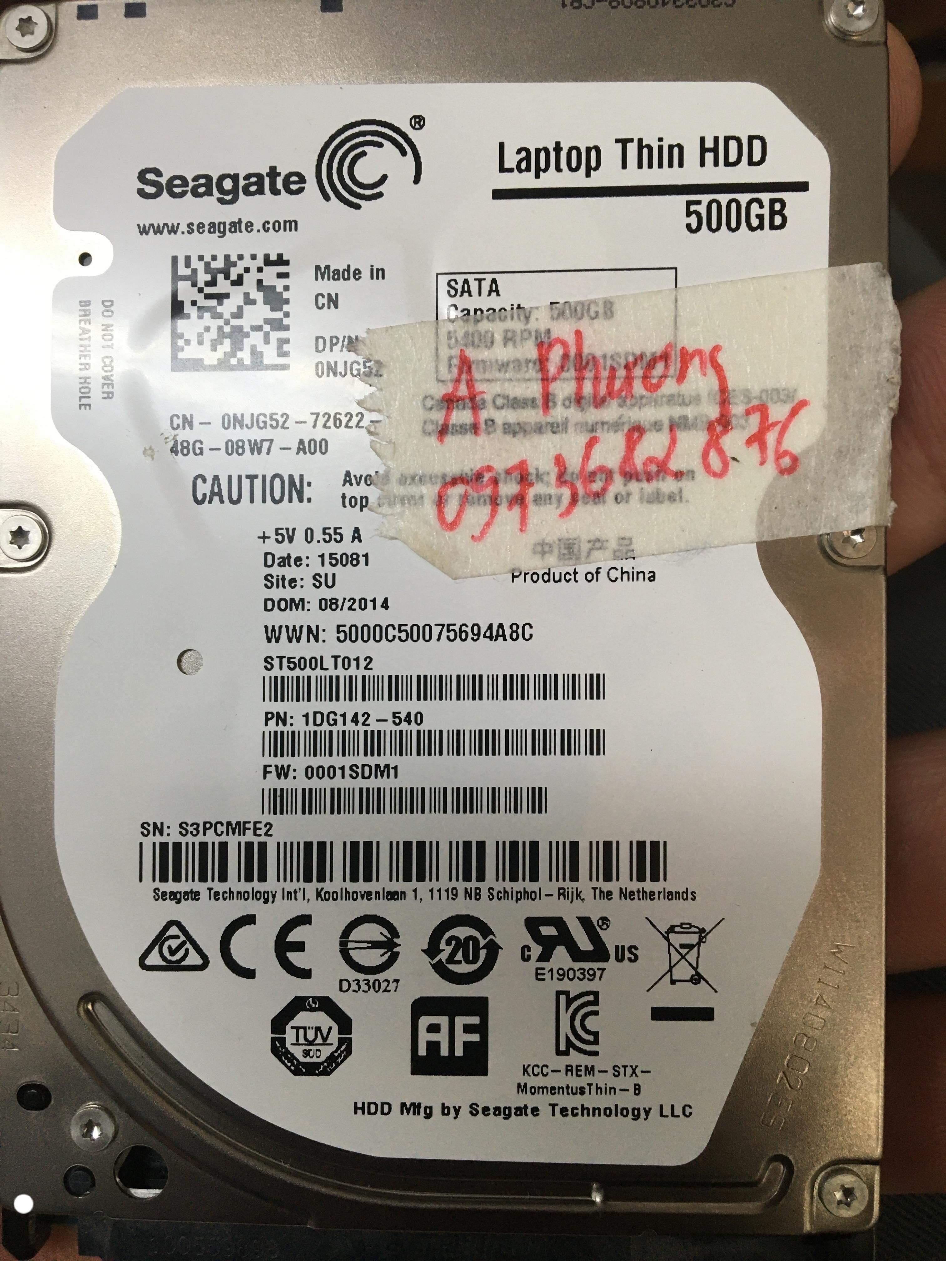 Phục hồi dữ liệu ổ cứng Seagate 500GB lỗi đầu đọc 31/07/2019 - cuumaytinh