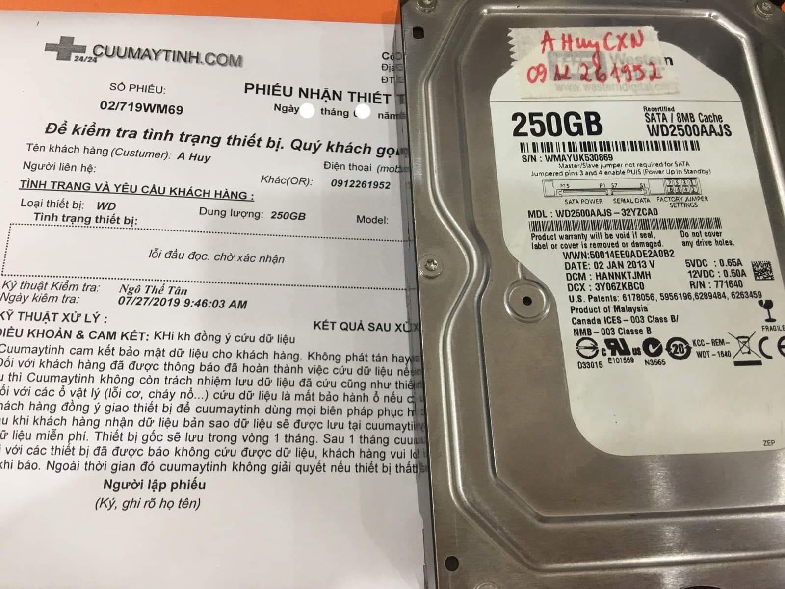 Phục hồi dữ liệu ổ cứng Western 250GB không nhận 14/08/2019 - cuumaytinh