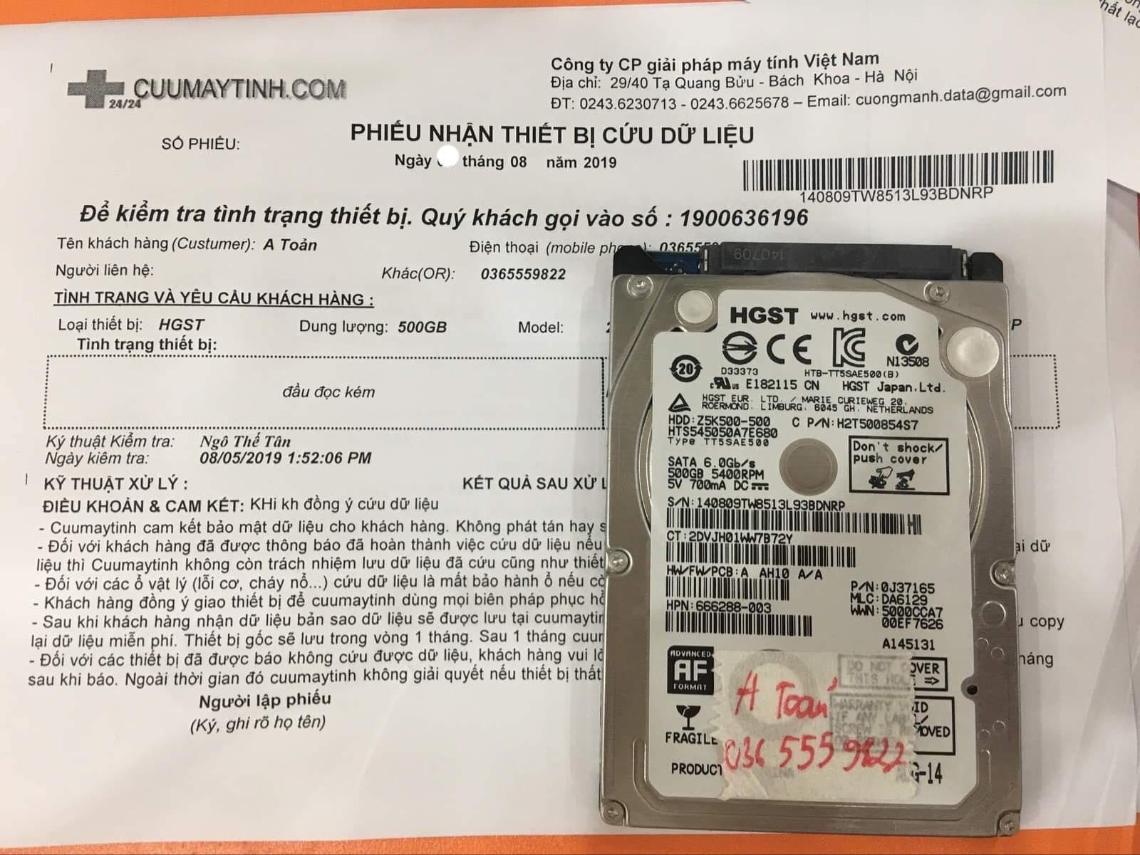 Cứu dữ liệu ổ cứng HGST 500GB đầu đọc kém 16/08/2019 - cuumaytinh