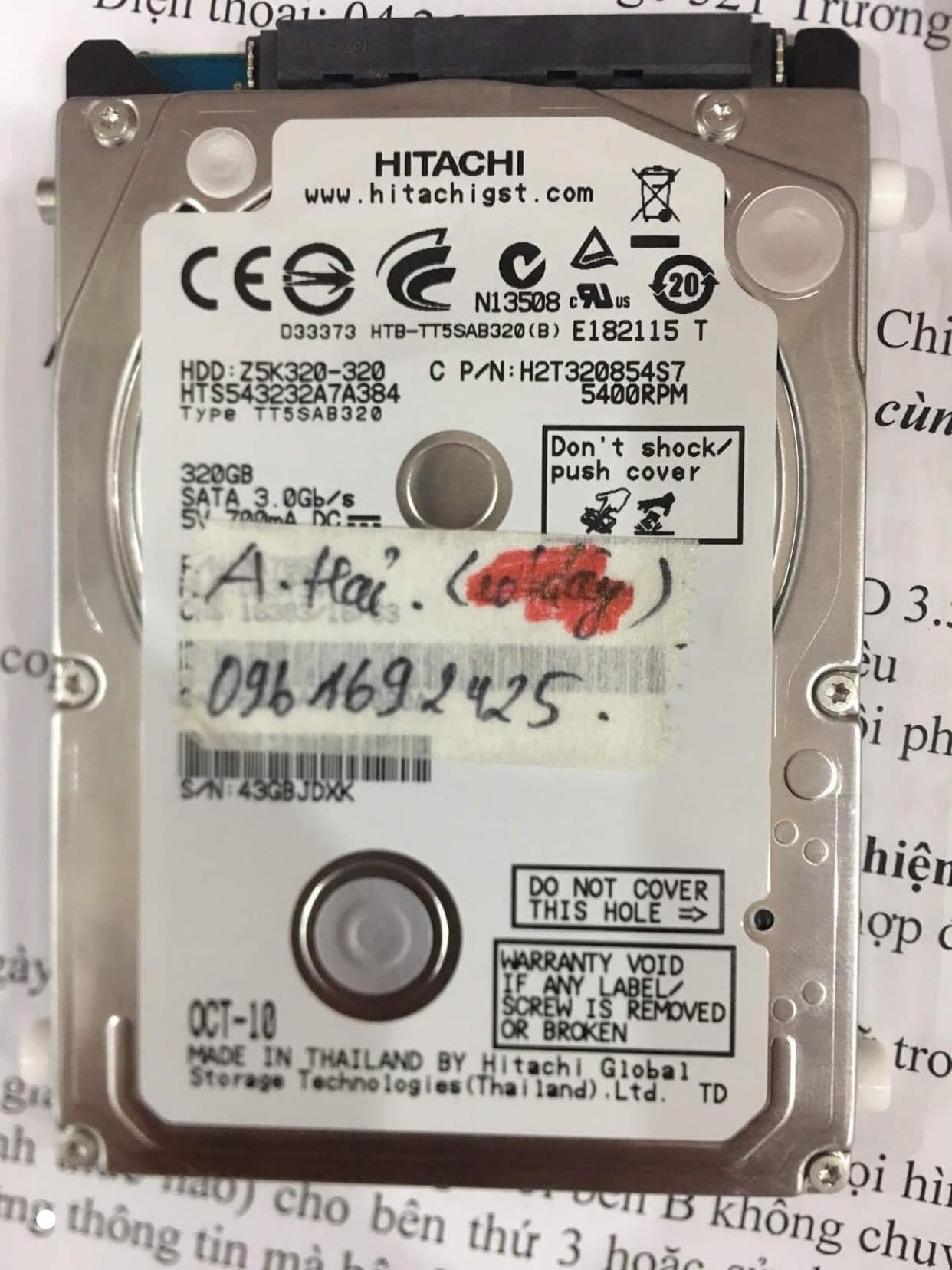 Cứu dữ liệu ổ cứng Hitachi 320GB đầu đọc kém 15/08/2019 - cuuamytinh