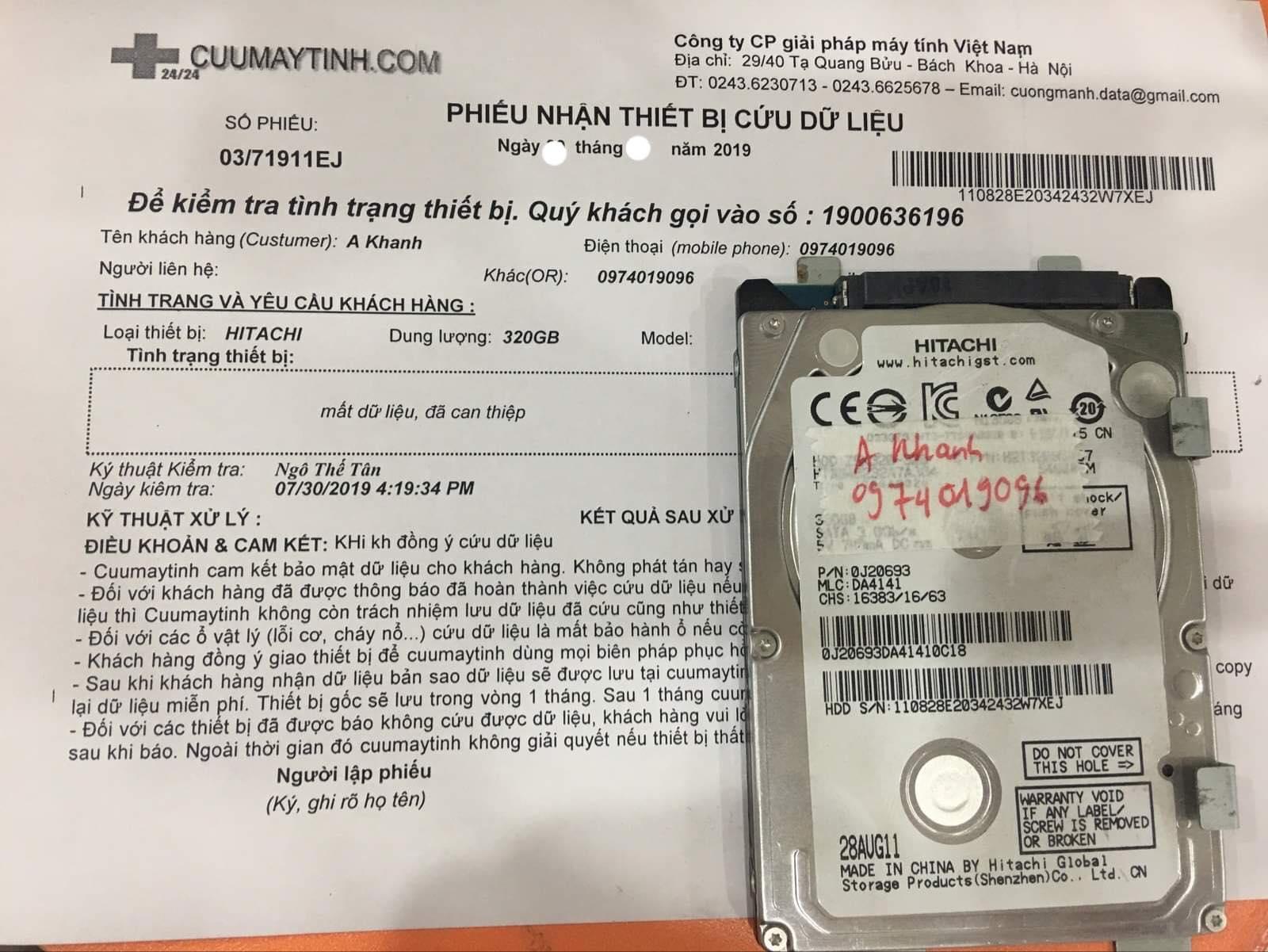 Cứu dữ liệu ổ cứng Hitachi 320GB mất dữ liệu  01/08/2019 - cuumaytinh