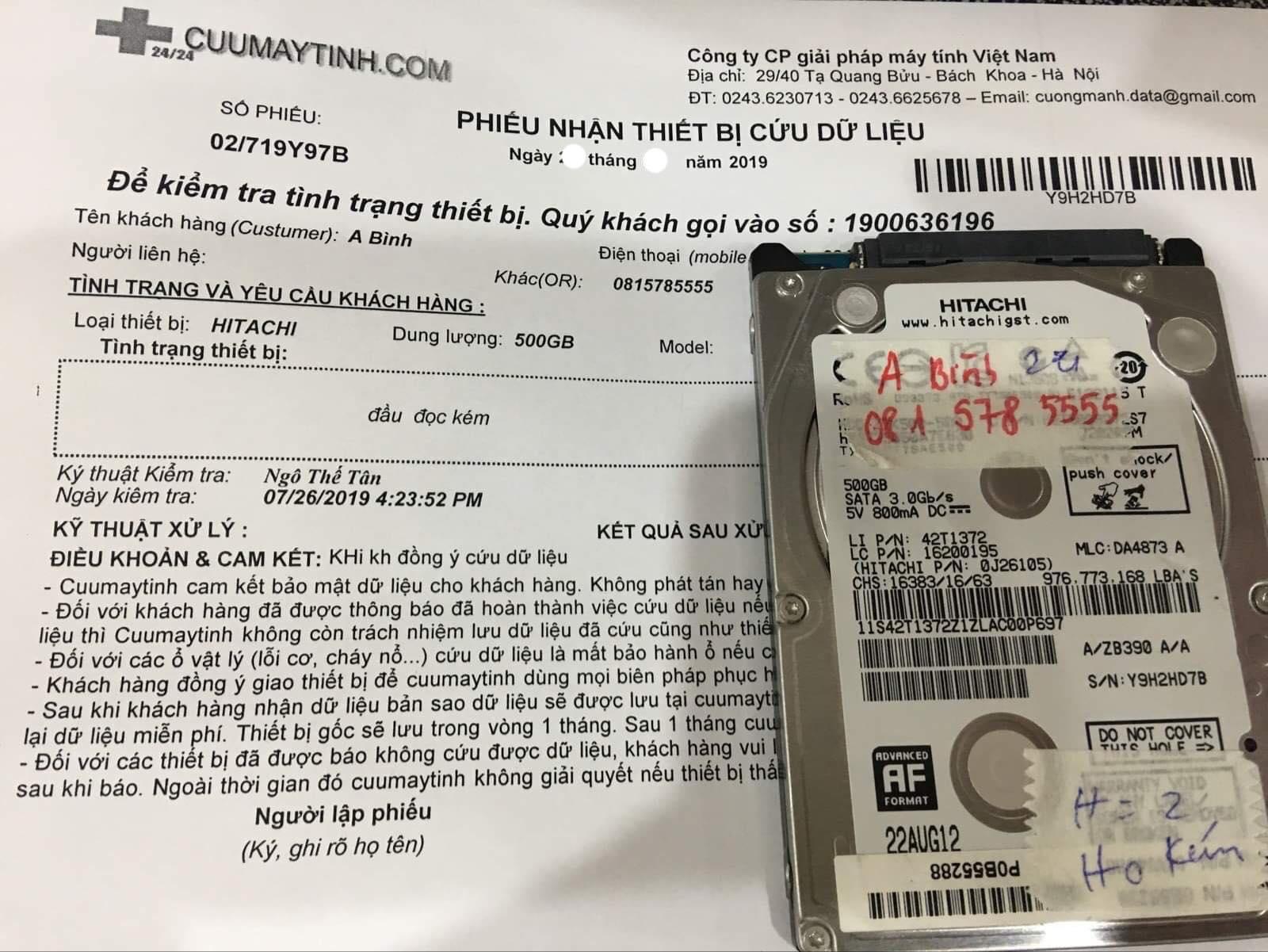 Cứu dữ liệu ổ cứng Hitachi 500GB đầu đọc kém 02/08/2019 - cuumaytinh