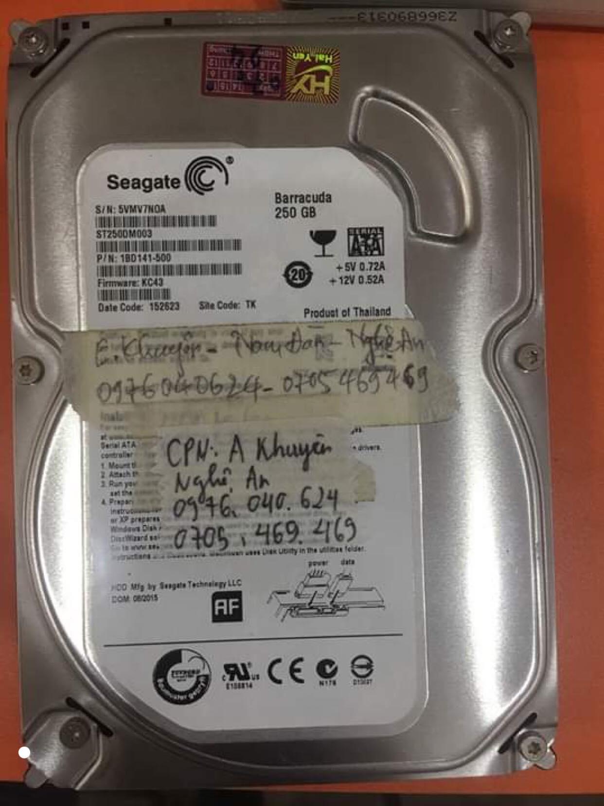 Cứu dữ liệu ổ cứng Seagate 250GB lỗi đầu đọc tại Nghệ An 27/08/2019 - cuumaytinh