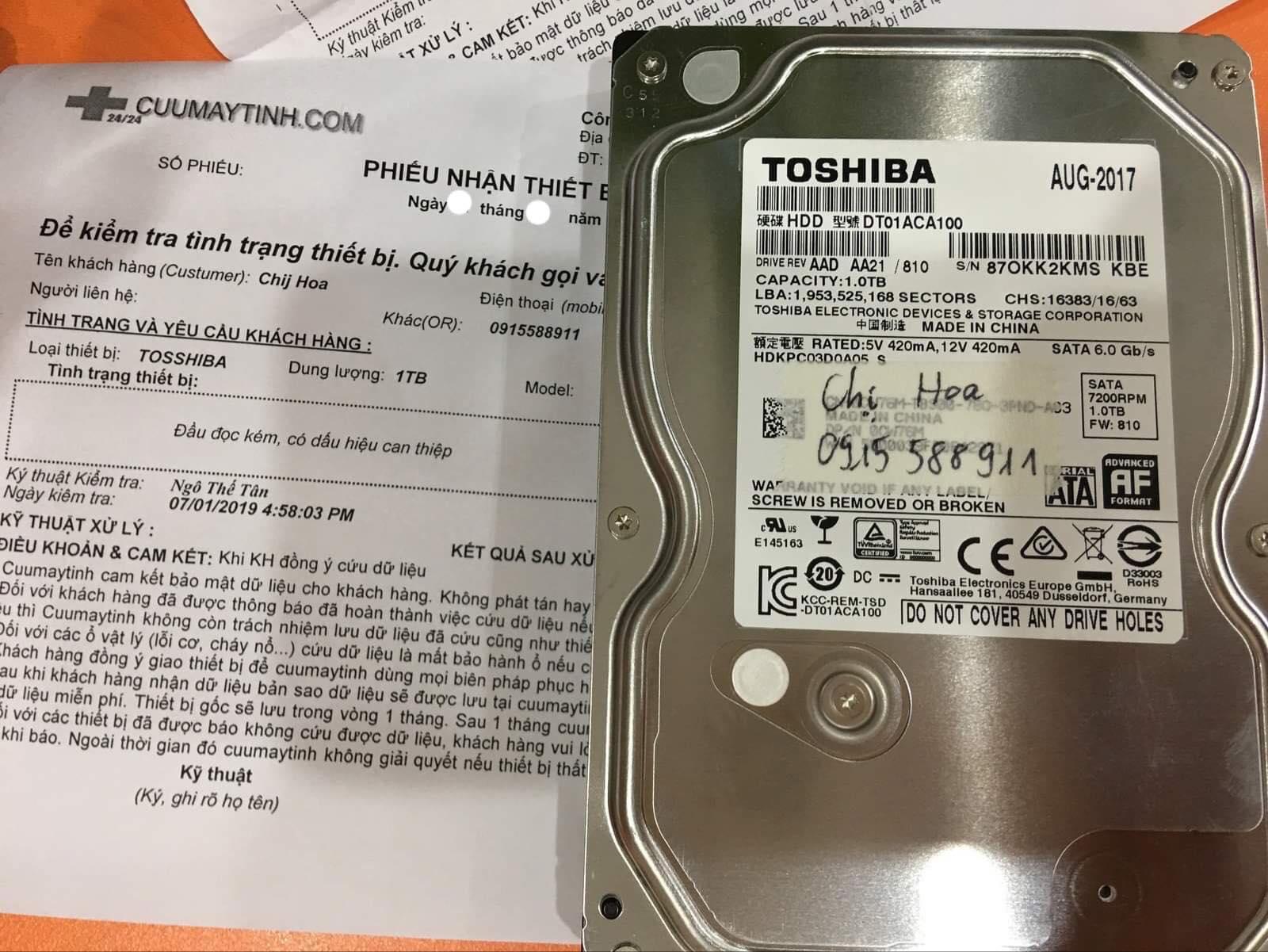 Cứu dữ liệu ổ cứng Toshiba dung lượng 1TB đầu đọc kém 13/08/2019 - cuumaytinh