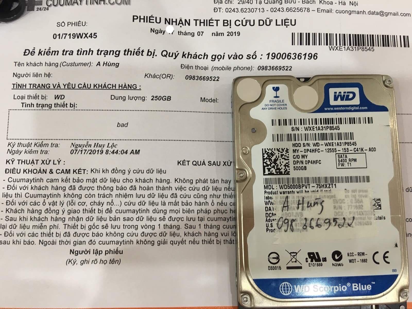 Cứu dữ liệu ổ cứng Western 250GB bad 30/07/2019 - cuumaytinh