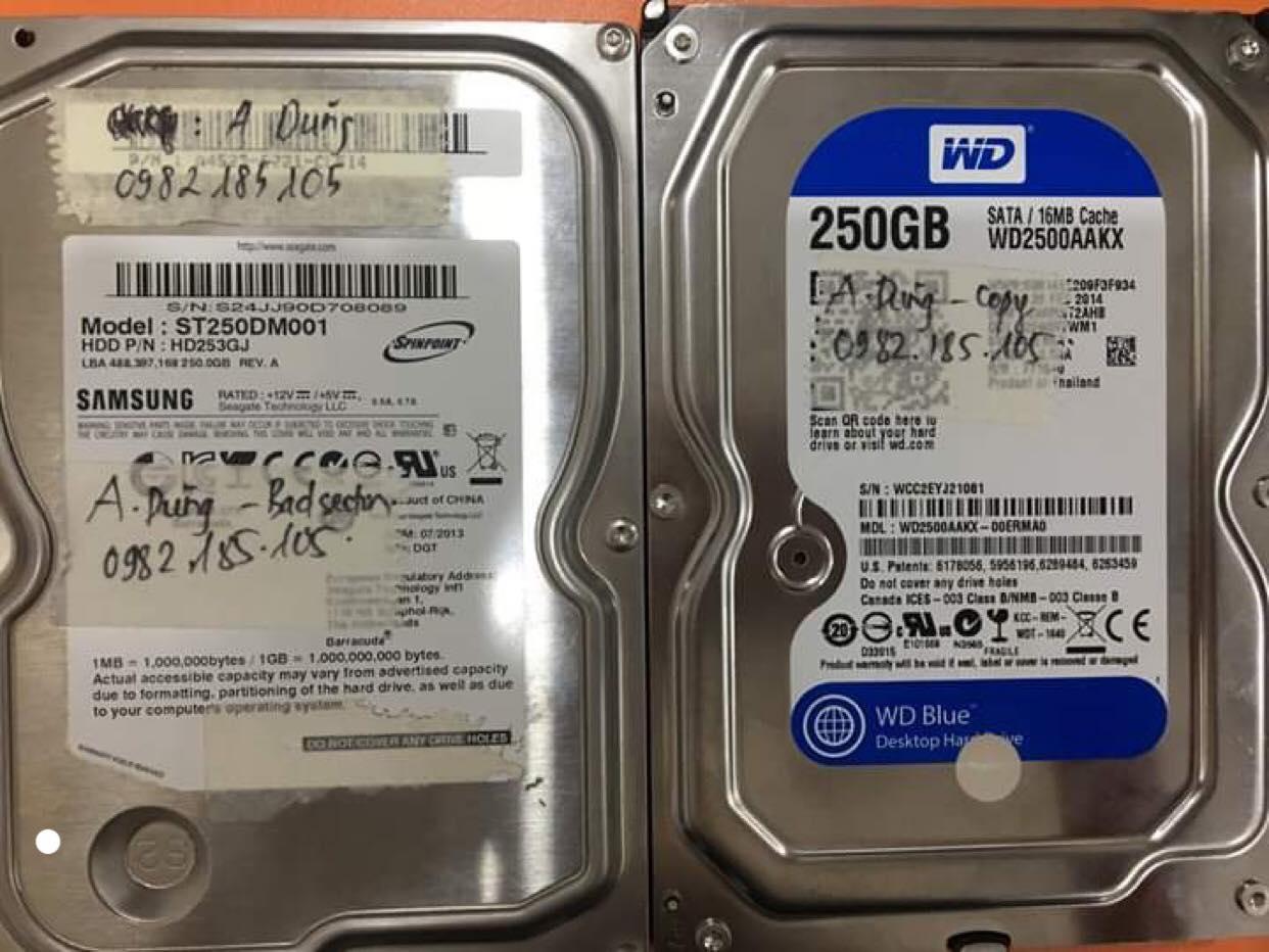 Cứu dữ liệu ổ cứng Samsung 250GB bad sector 21/08/2019 - cuumaytinh