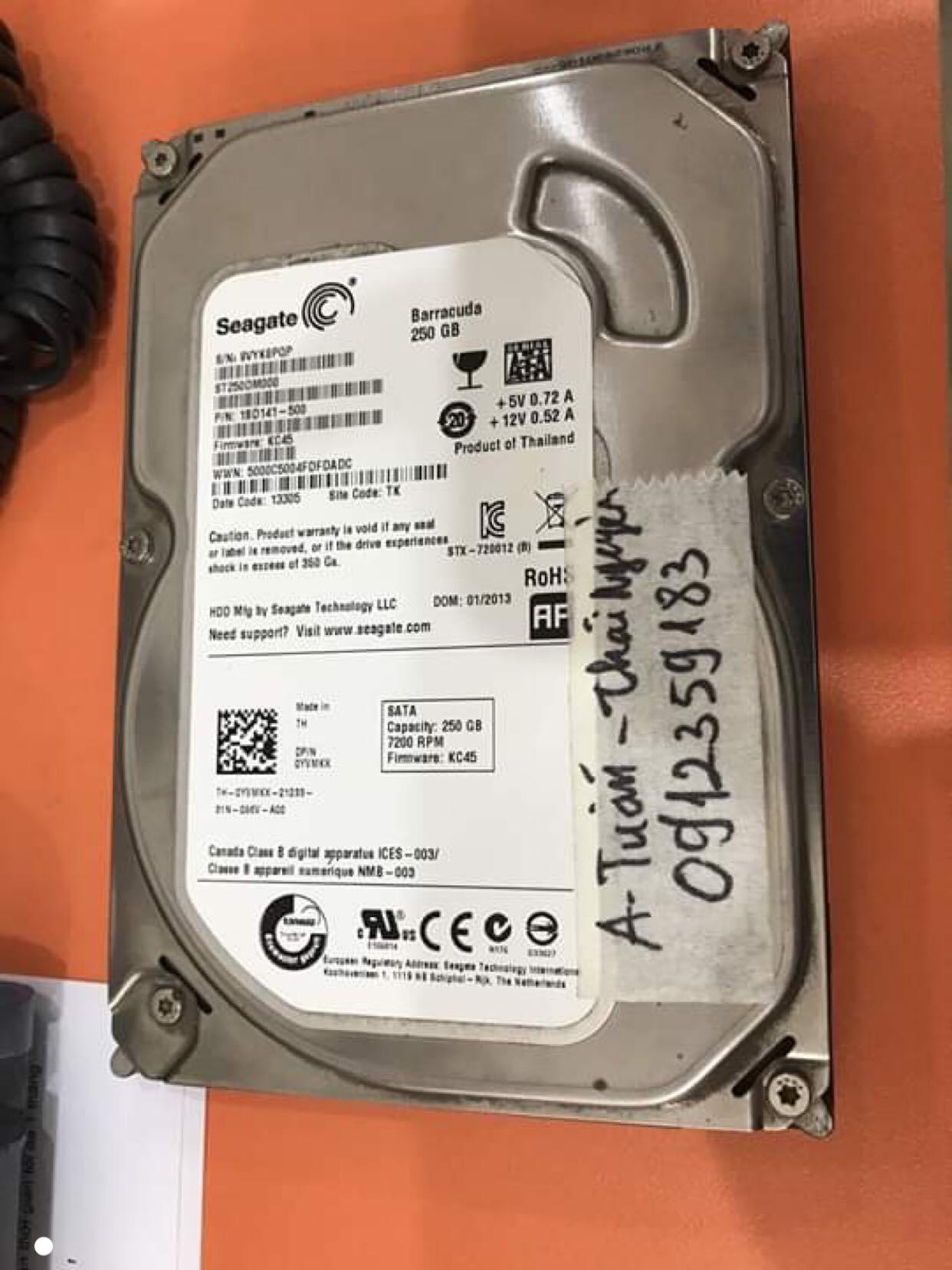 Cứu dữ liệu ổ cứng Seagate 250GB không nhận tại Thái Nguyên 22/08/2019 - cuumaytinh