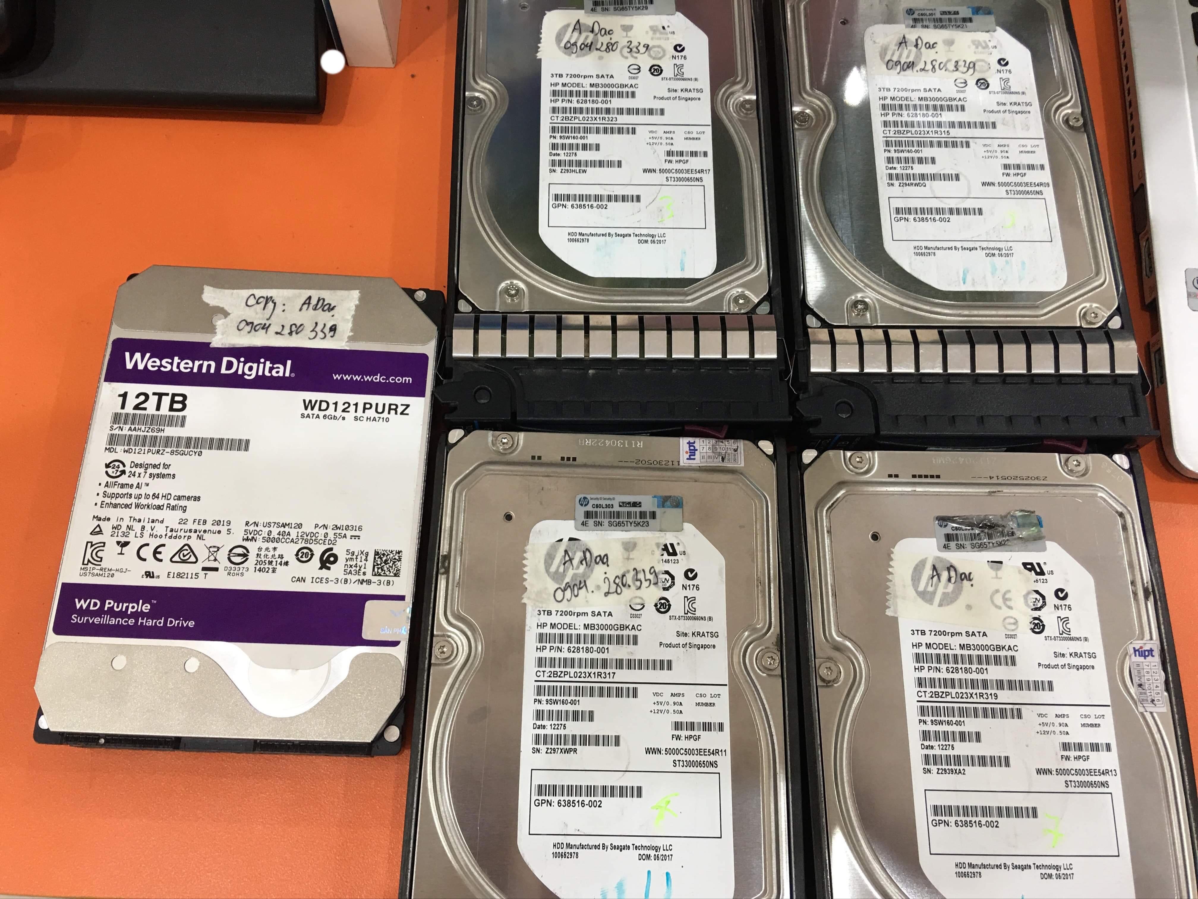 Khôi phục dữ liệu máy chủ HP với 4HDDx3TB sử dụng raid 5 lỗi vật lý 2 ổcứng - 06.2019