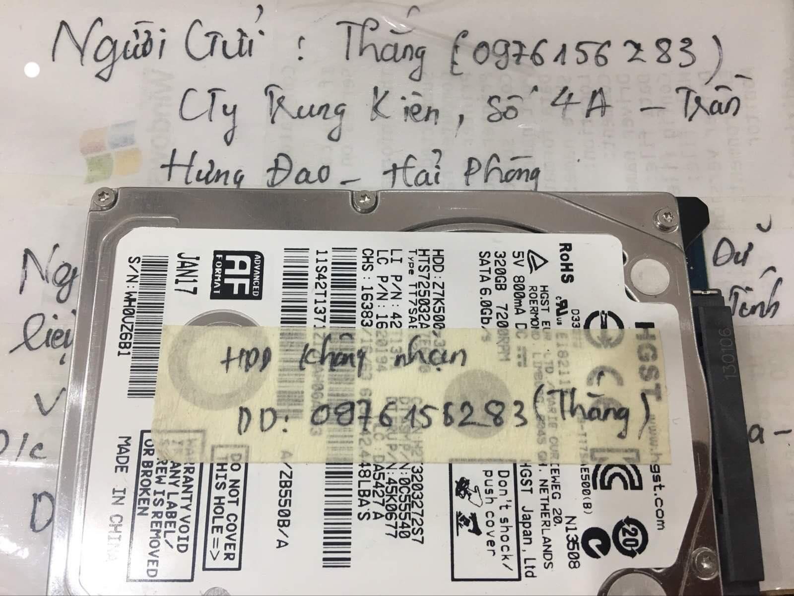 Khôi phục dữ liệu ổ cứng HGST 320GB lỗi cơ tại Hải Phòng 09/08/2019 - cuumaytinh