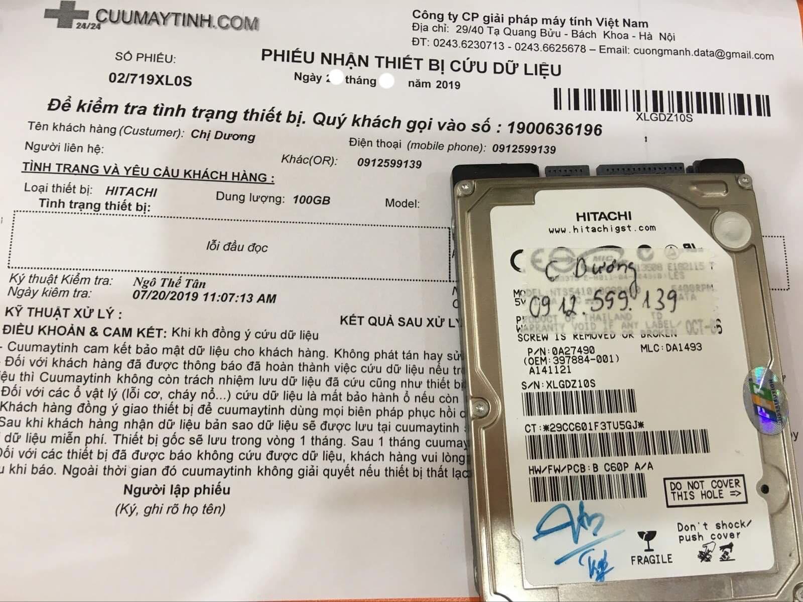 Khôi phục dữ liệu ổ cứng Hitachi 100GB lỗi đầu đọc 17/08/2019 - cuumaytinh