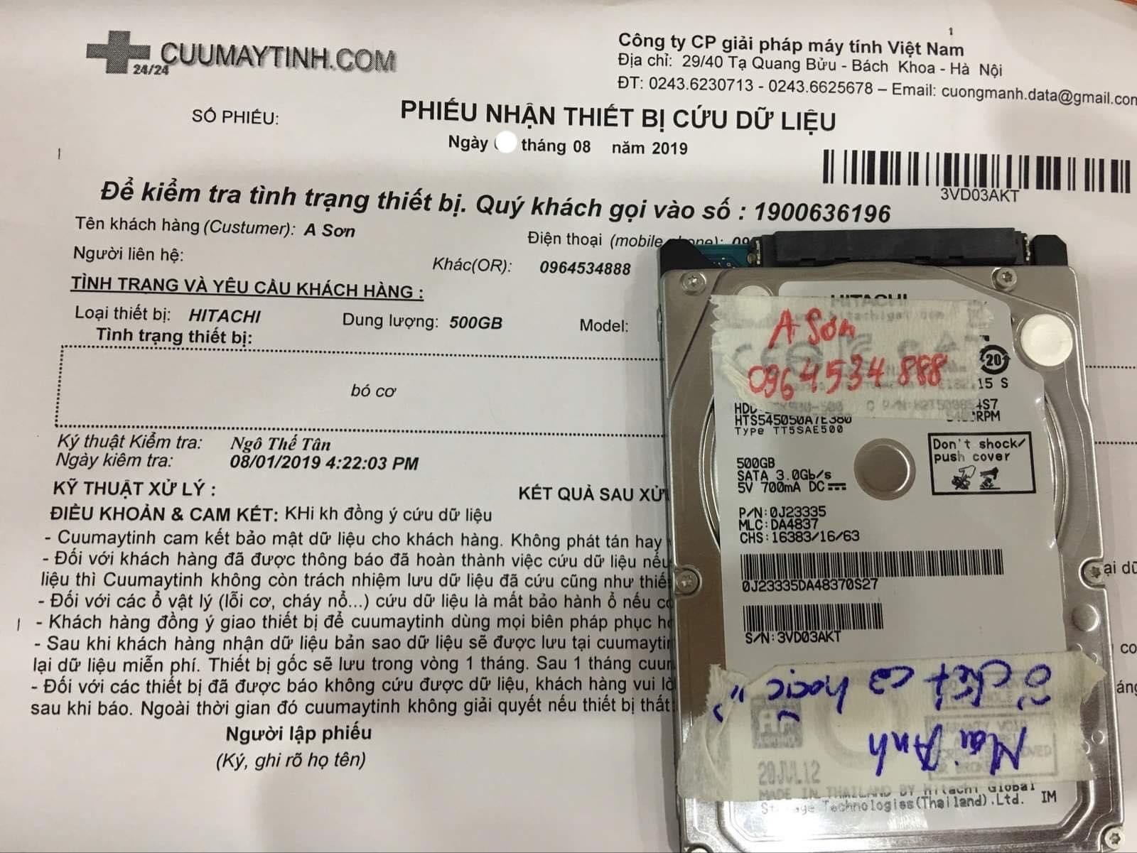 Khôi phục dữ liệu ổ cứng Hitachi 500GB bó cơ 12/08/2019 - cuumaytinh