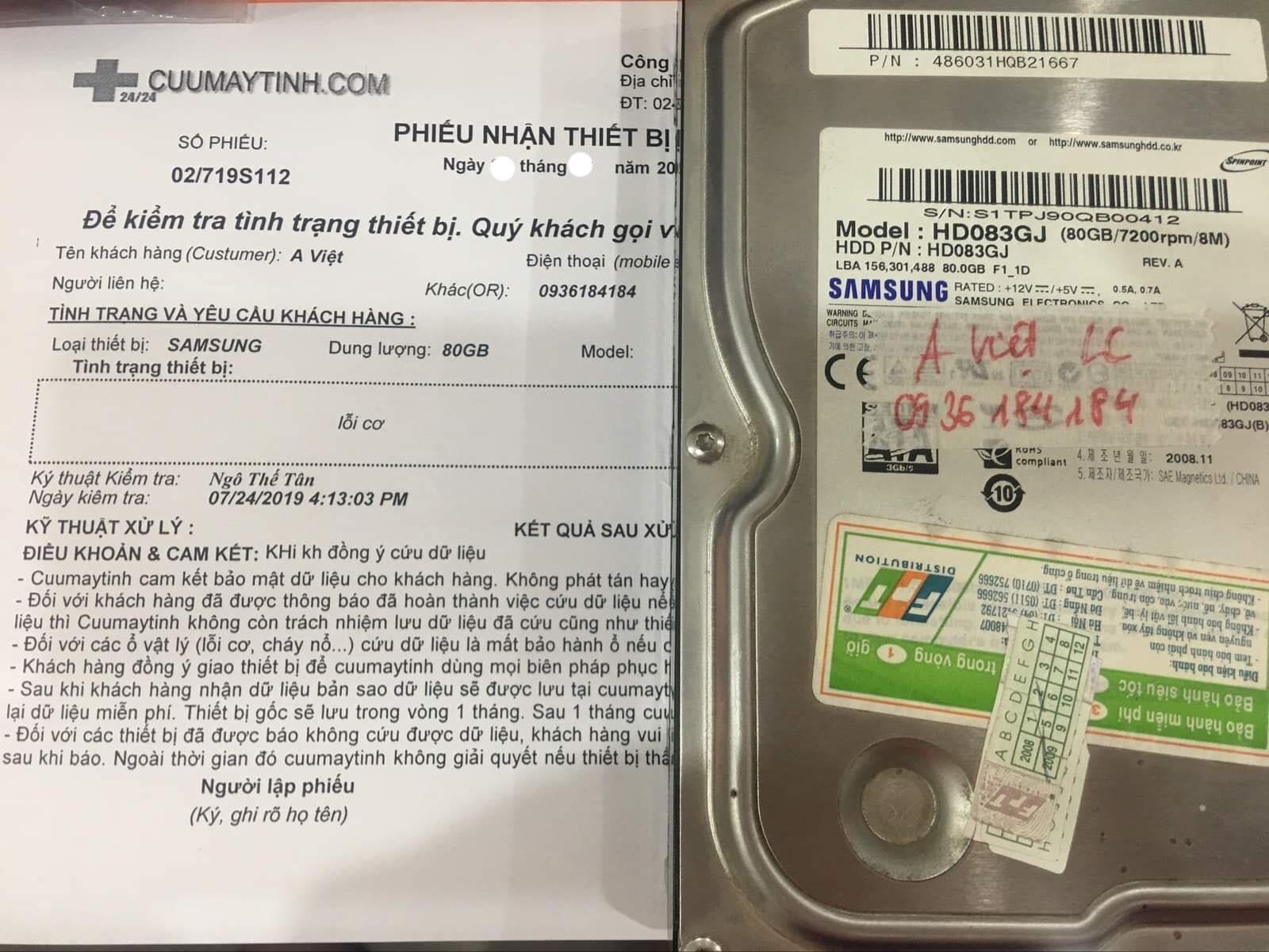 Khôi phục dữ liệu ổ cứng Samsung 80GB lỗi cơ 02/08/2019 - cuumaytinh