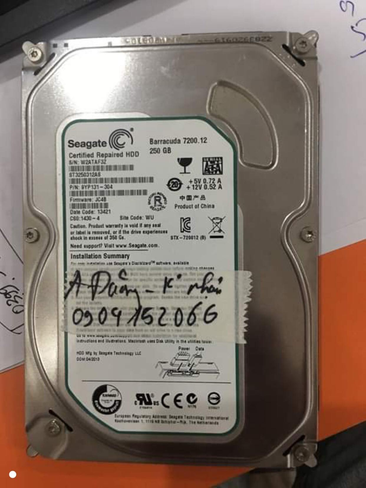 Khôi phục dữ liệu ổ cứng Seagate 250GB không nhận 27/08/2019 - cuumaytinh