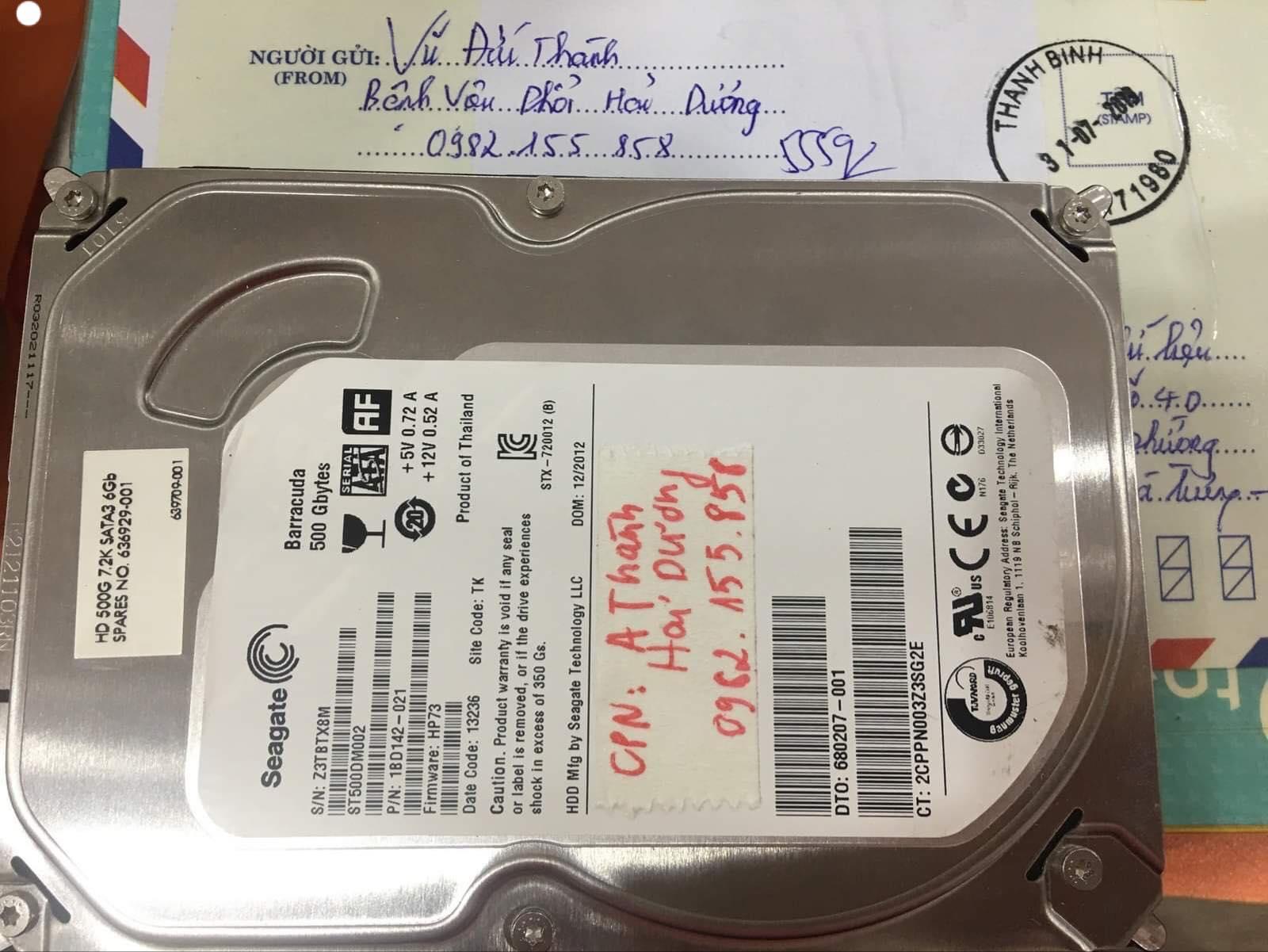 Khôi phục dữ liệu ổ cứng Seagate 500GB không nhận tại Hải Dương 08/08/2019 - cuumaytinh