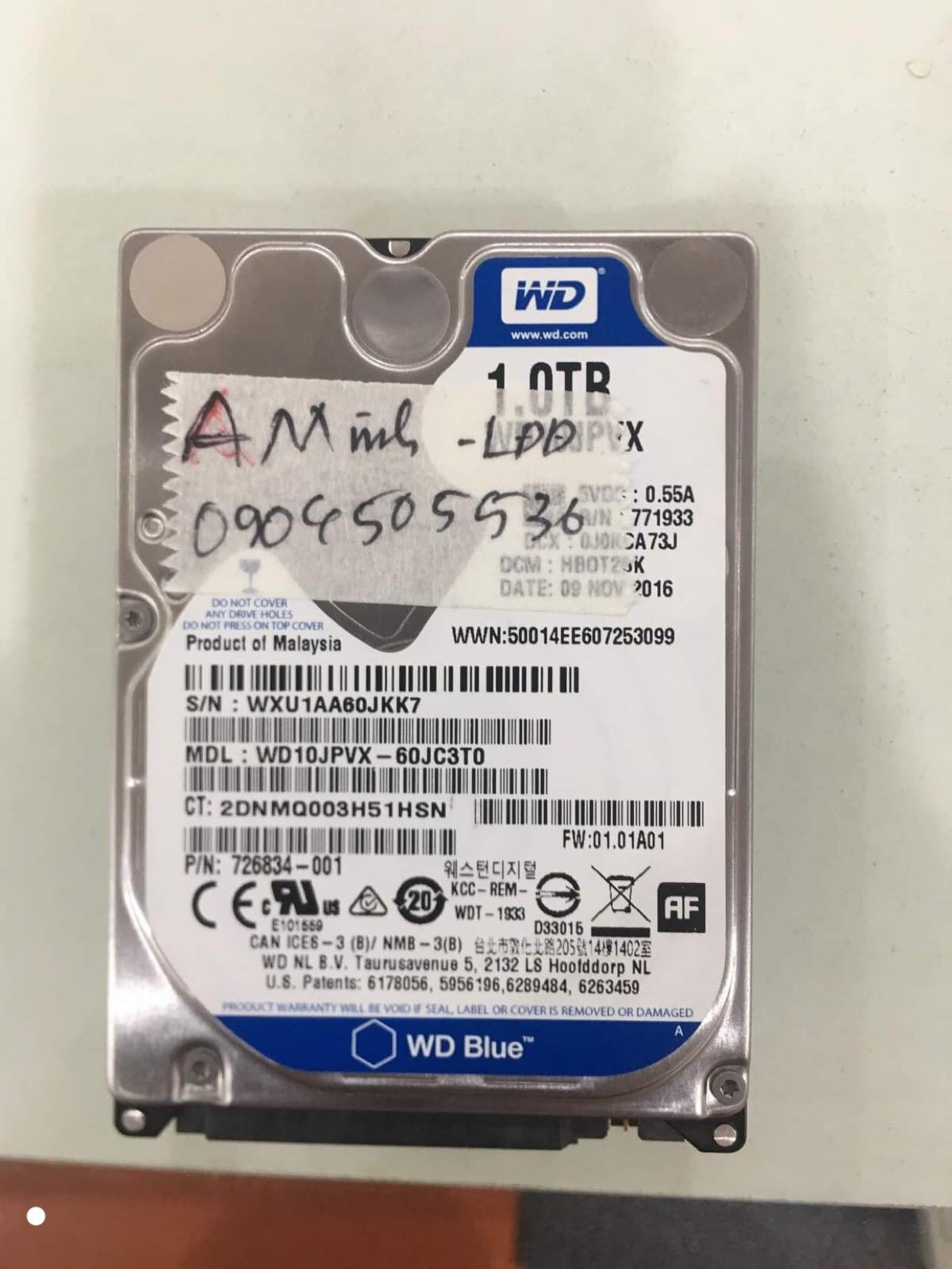 Khôi phục dữ liệu ổ cứng Western 1TB lỗi đầu đọc 21/08/2019 - cuumaytinh