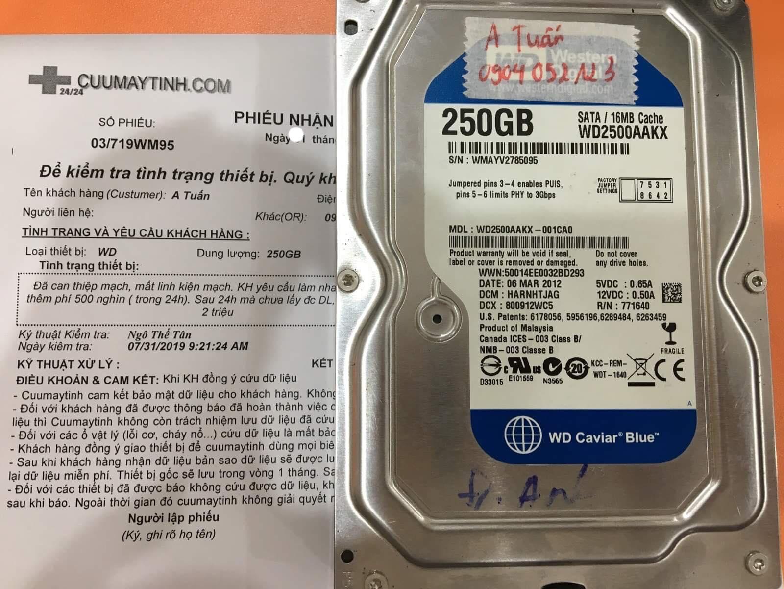 Khôi phục dữ liệu ổ cứng Western 250GB không nhận 05/08/2019 - cuumaytinh