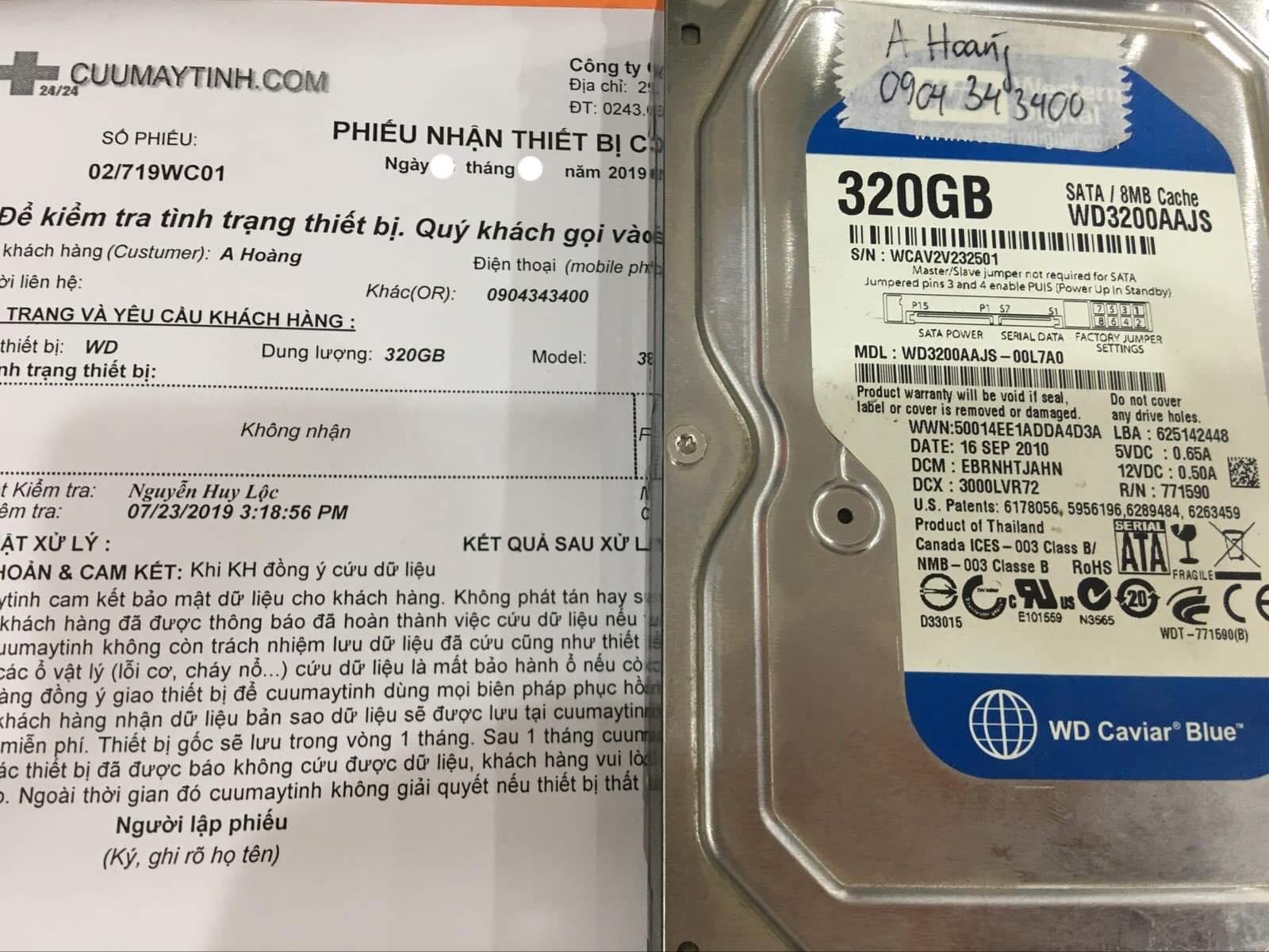 Khôi phục dữ liệu ổ cứng Western 320GB không nhận 13/08/2019 - cuumaytinh