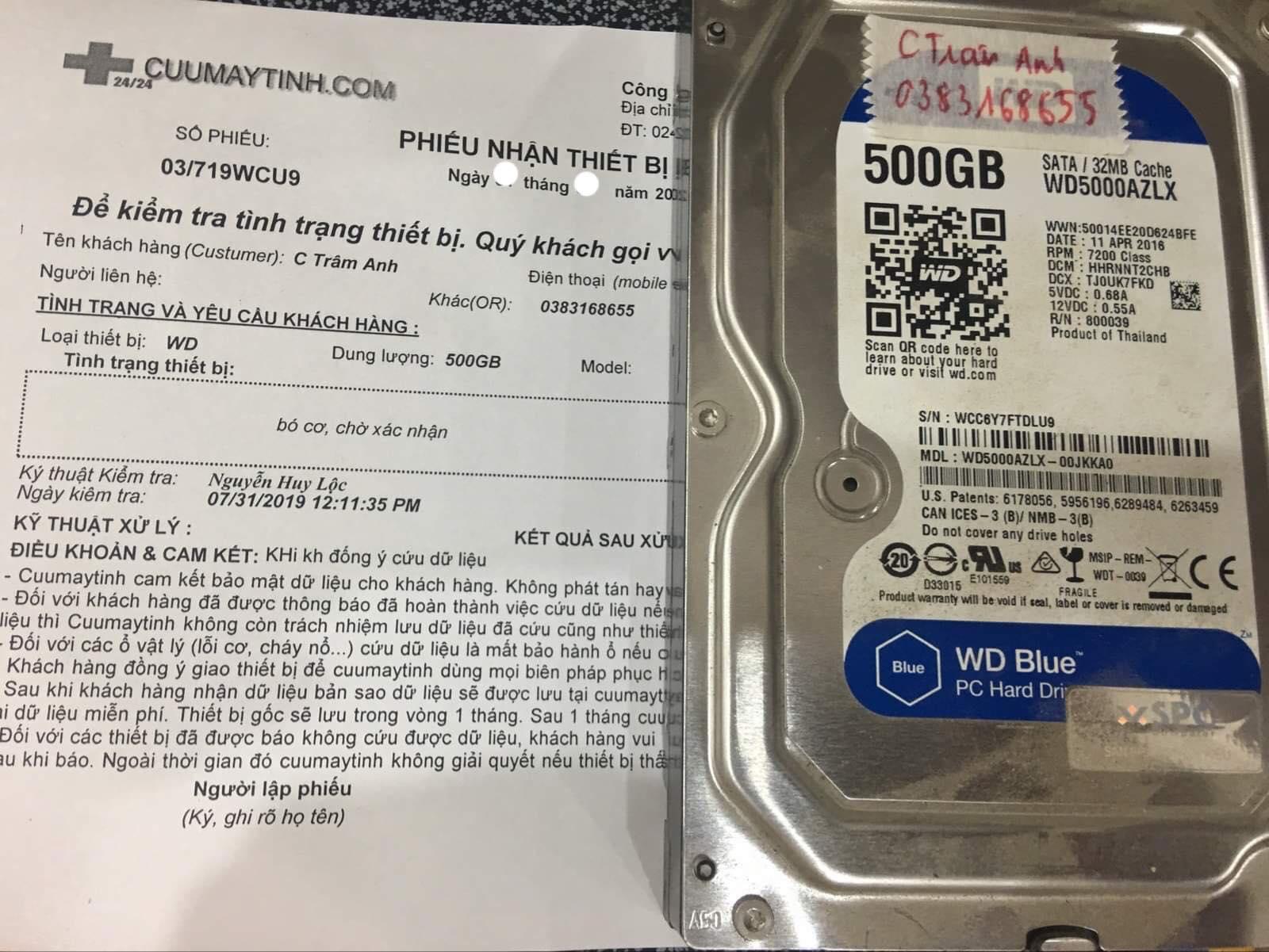 Khôi phục dữ liệu ổ cứng Western 500GB bó cơ 07/08/2019 - cuumaytinh