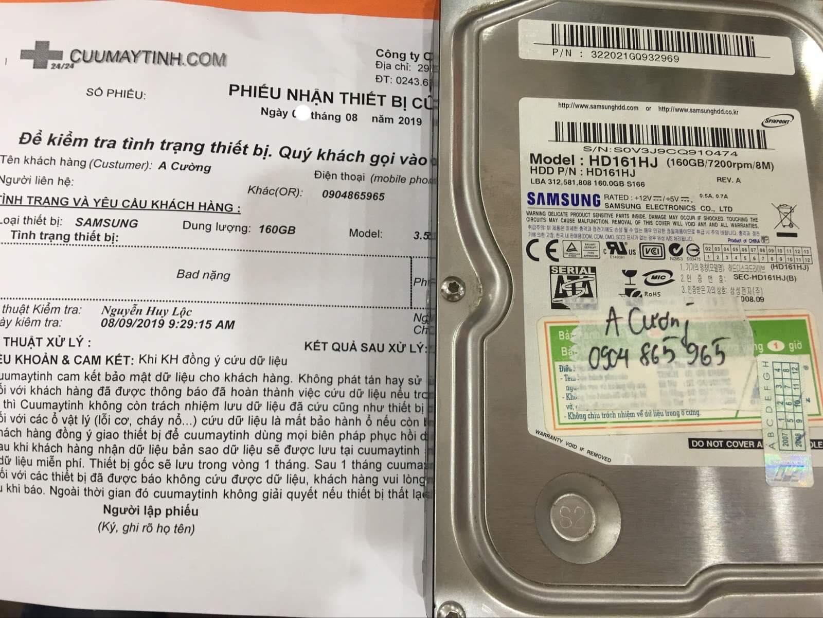 Lấy dữ liệu ổ cứng Samsung 160GB bad 16/08/2019 - cuumaytinh