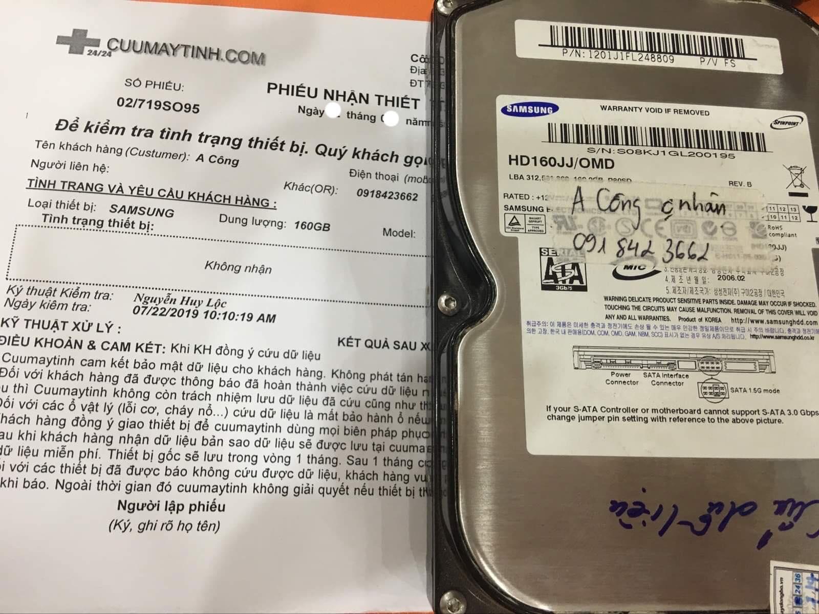 Lấy dữ liệu ổ cứng Samsung 160GB không nhận 12/08/2019 - cuumaytinh
