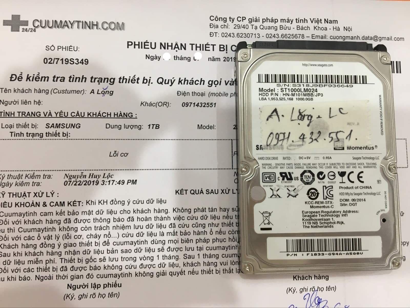 Lấy dữ liệu ổ cứng Samsung 1TB lỗi cơ 05/08/2019 - cuumaytinh