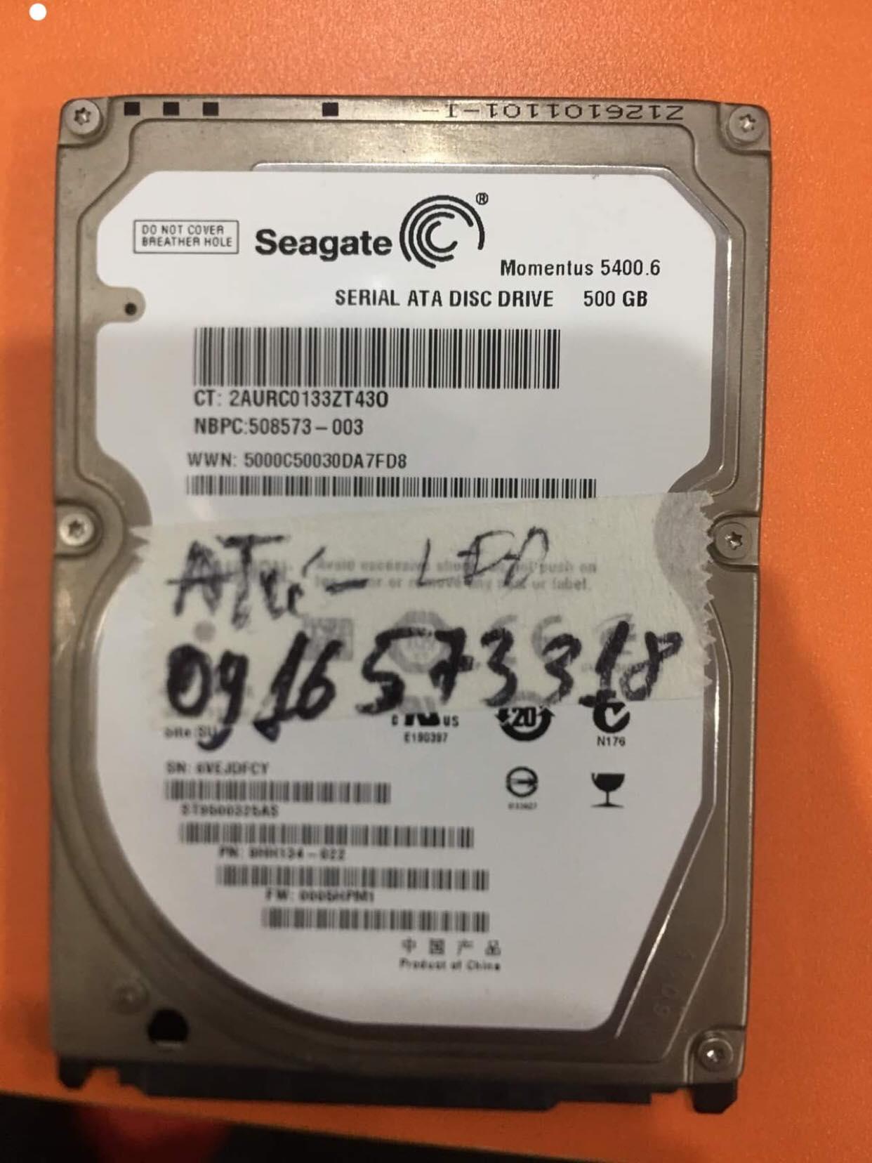 Lấy dữ liệu ổ cứng Seagate 500GB lỗi đầu đọc 07/08/2019 - cuumaytinh