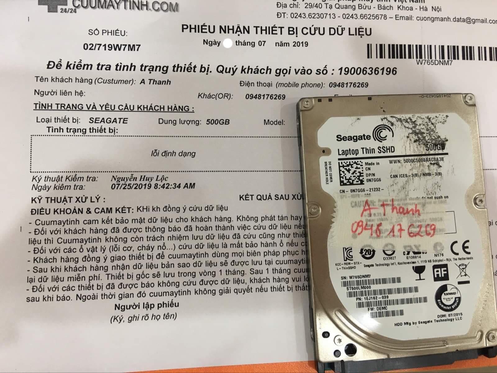 Lấy dữ liệu ổ cứng Seagate 500GB mất định dạng 31/07/2019 - cuumaytinh