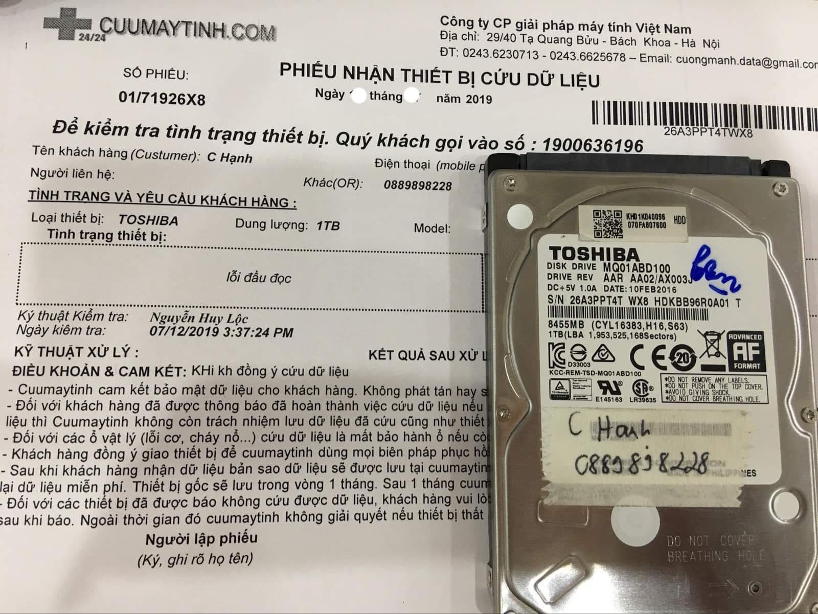 Lấy dữ liệu ổ cứng Toshiba 1TB lỗi đầu đọc 06/08/2019 - cuumaytinh