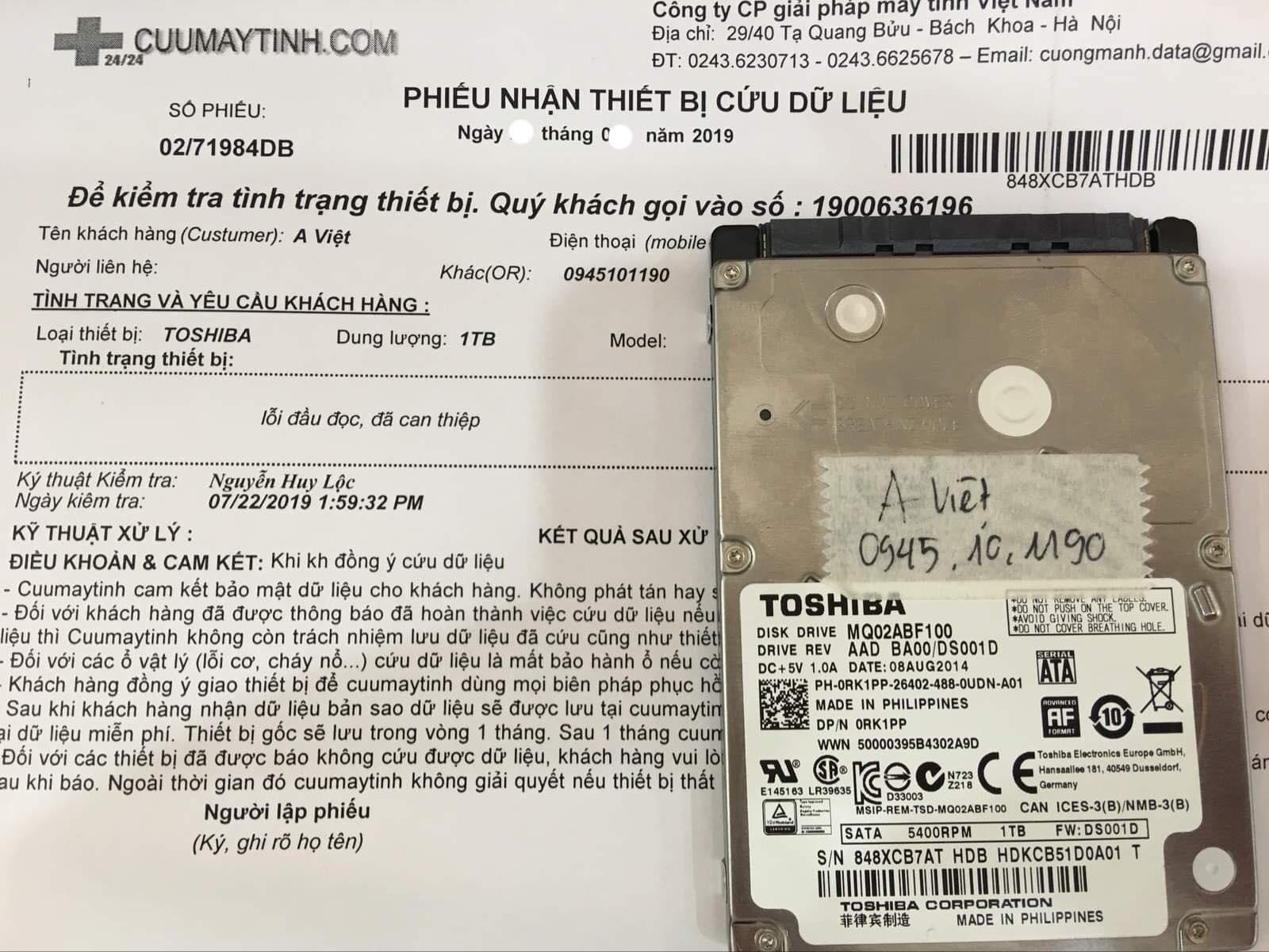 Lấy dữ liệu ổ cứng Toshiba 1TB lỗi đầu đọc 15/08/2019 - cuumaytinh