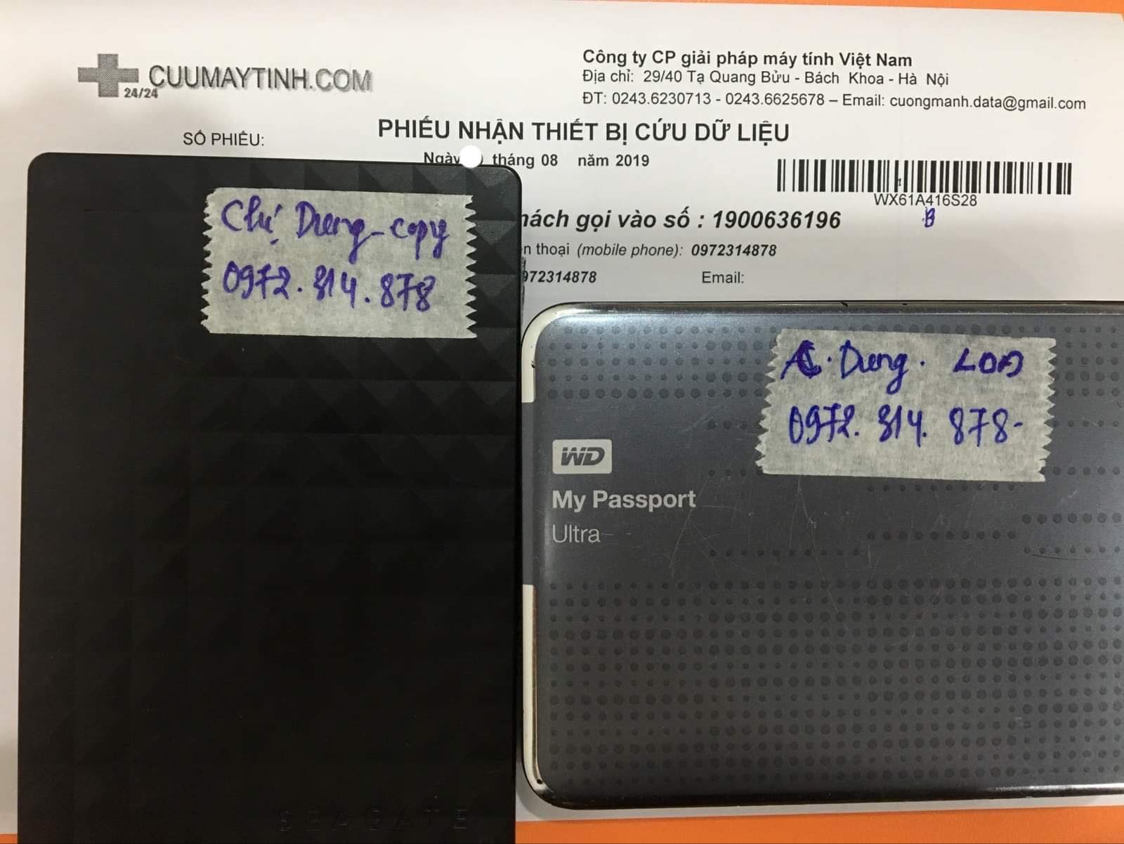 Lấy dữ liệu ổ cứng Western 1TB lỗi đầu đọc 28/08/2019 - cuumaytinh
