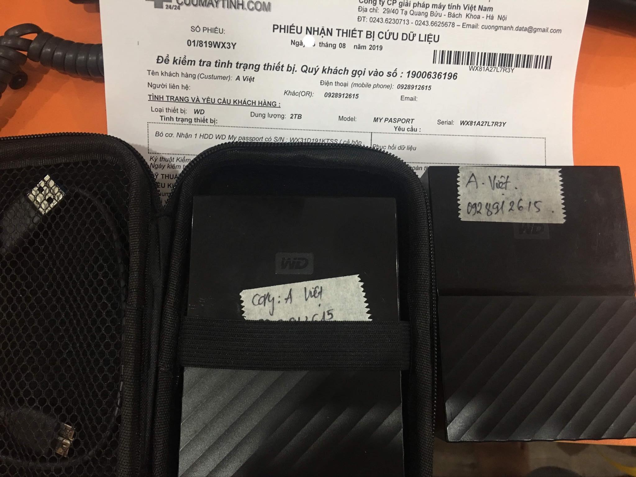 Lấy dữ liệu ổ cứng Western 2TB bó cơ 20/08/2019 - cuumaytinh