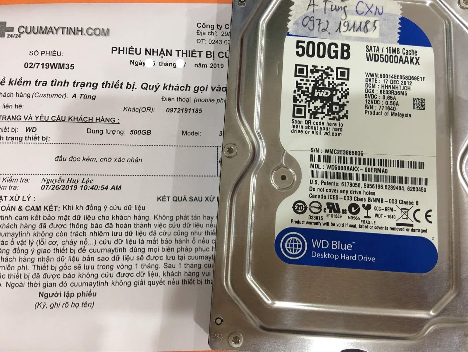 Lấy dữ liệu ổ cứng Western 500GB đầu đọc kém 01/08/2019 - cuumaytinh