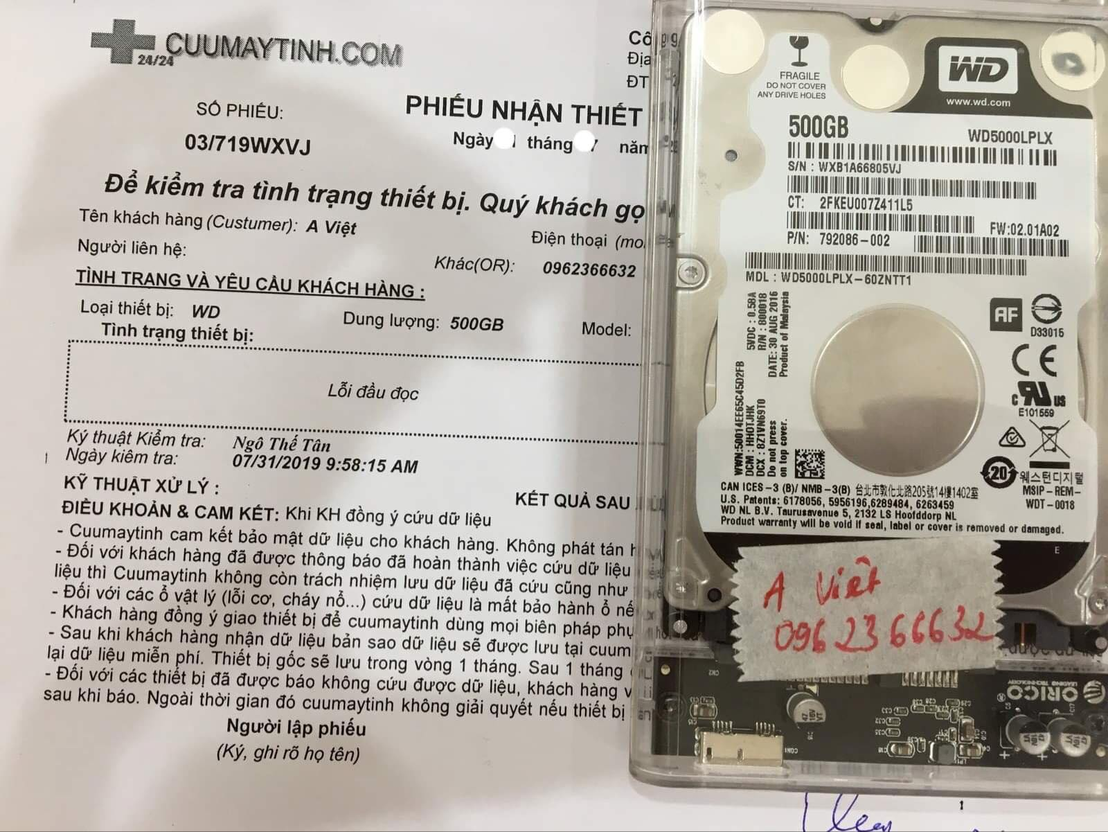 Lấy dữ liệu ổ cứng Western 500GB lỗi đầu đọc 09/08/2019 - cuumaytinh
