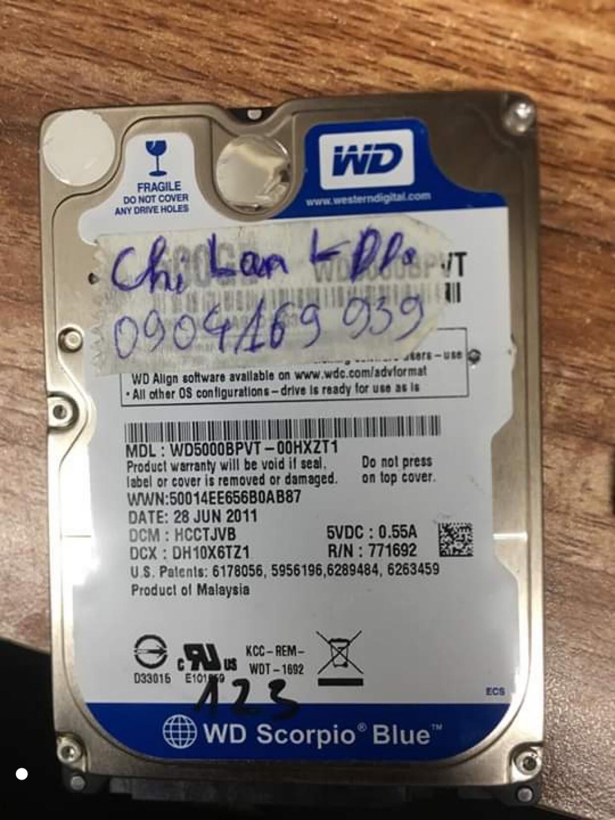 Lấy dữ liệu ổ cứng Western 500GB lỗi đầu đọc 10/08/2019 - cuumaytinh