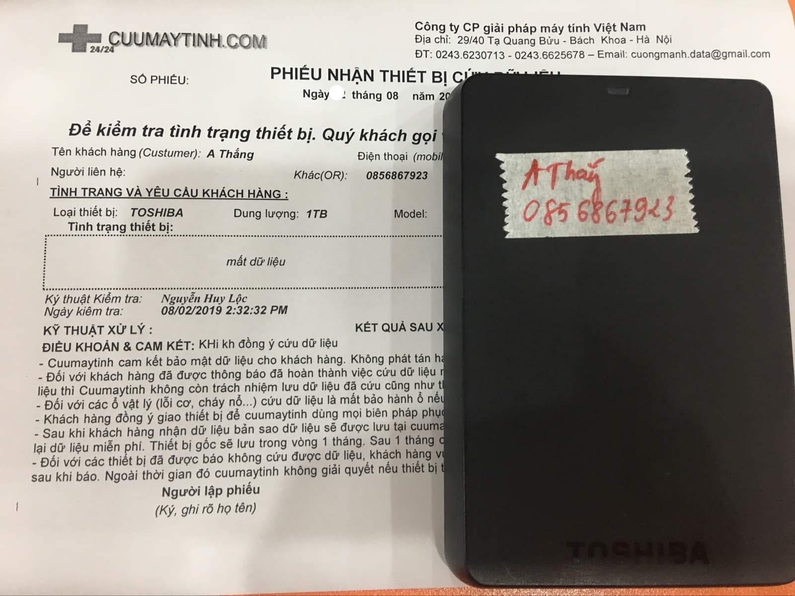 Lấy dữ liệu ổ cứng Toshiba 1TB mất dữ liệu 24/08/2019 - cuumaytinh