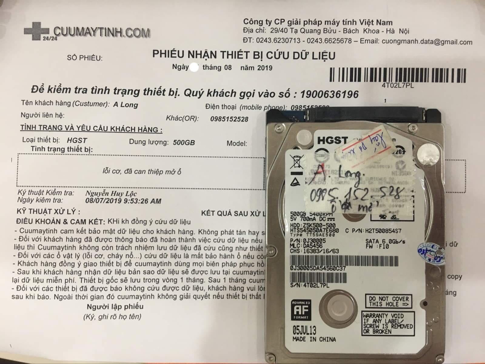 Phục hồi dữ liệu ổ cứng HGST 500GB lỗi cơ 27/08/2019 - cuumaytinh