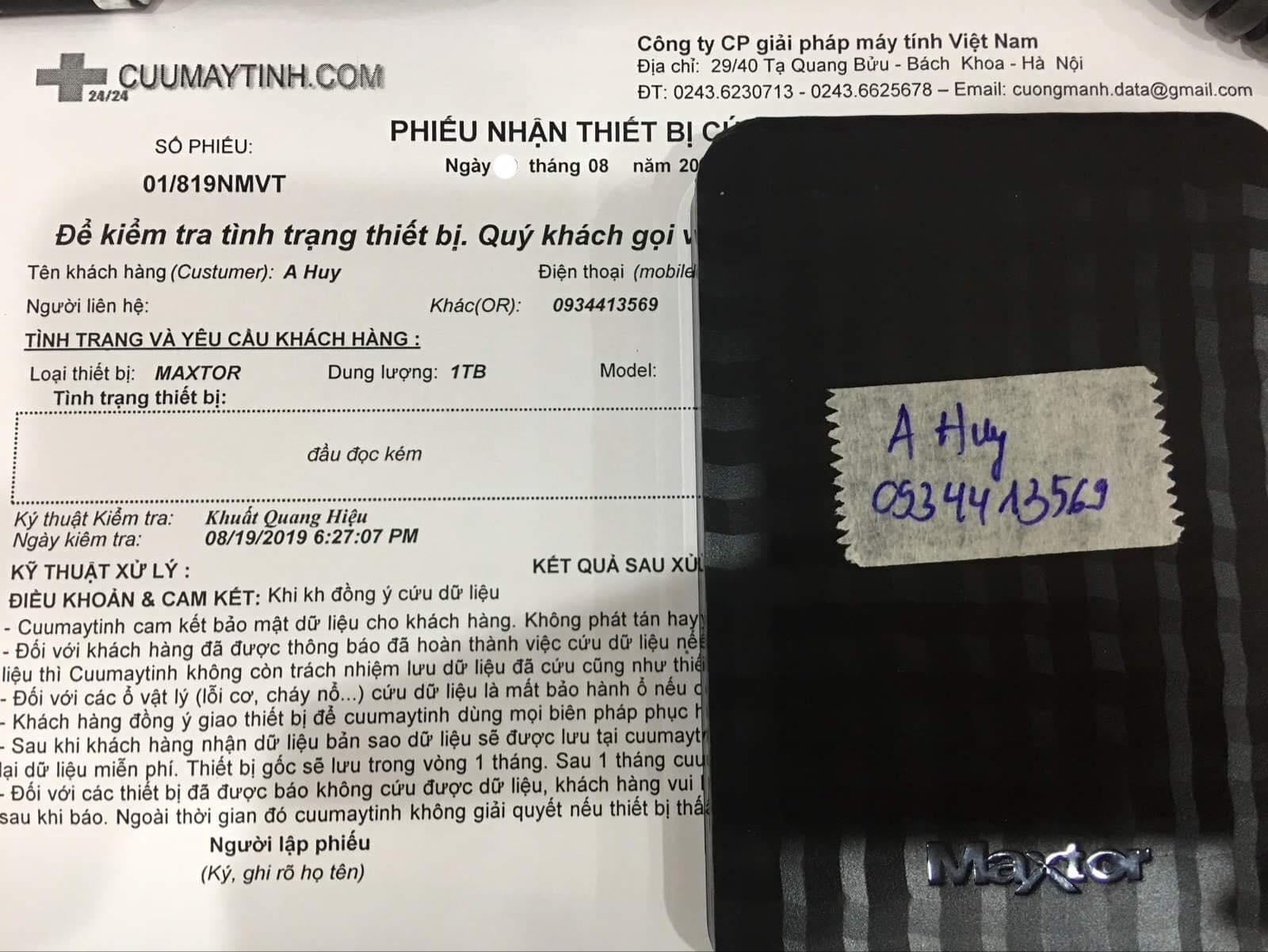 Phục hồi dữ liệu ổ cứng Maxtor 1TB đầu đọc kém 28/08/2019 - cuumaytinh