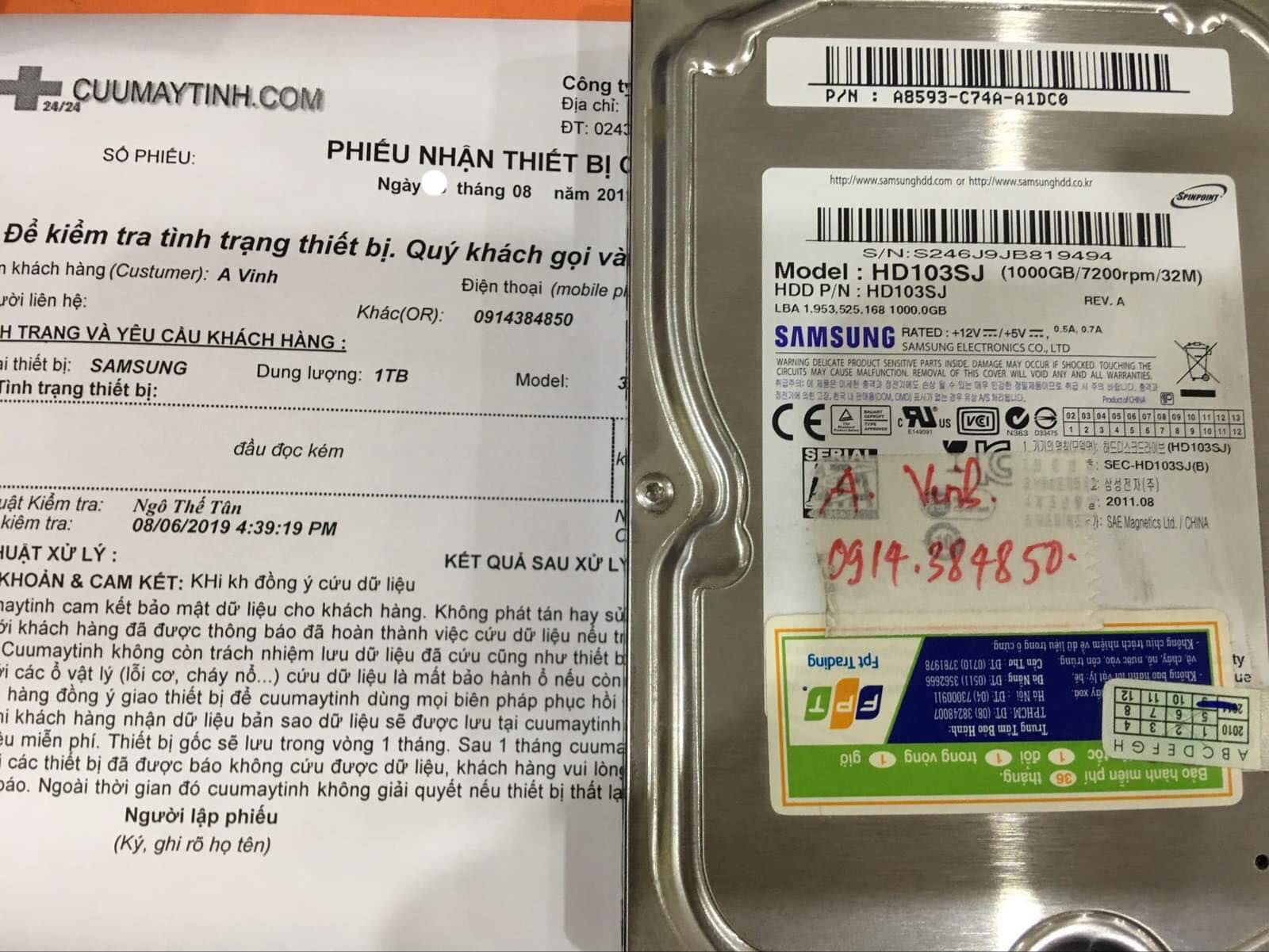 Phục hồi dữ liệu ổ cứng Samsung 1TB đầu đọc kém 13/08/2019 - cuumaytinh