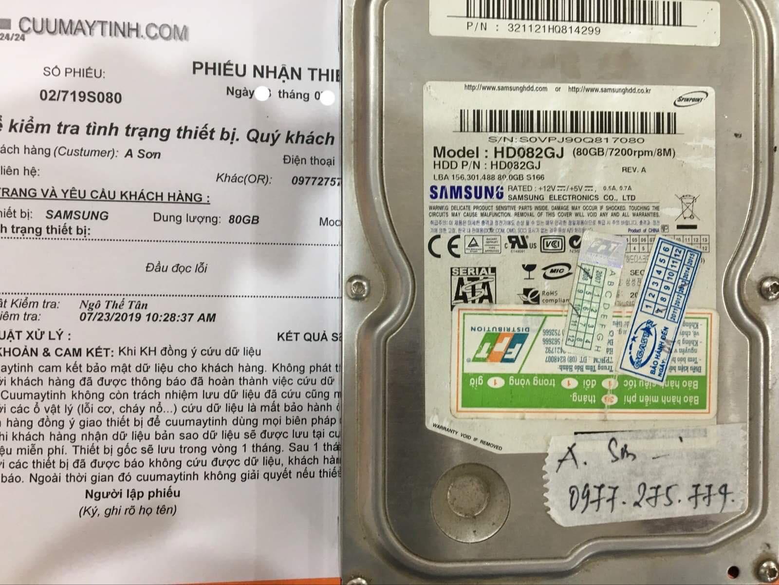 Phục hồi dữ liệu ổ cứng Samsung 80GB lỗi đầu đọc 05/08/2019 - cuumaytinh
