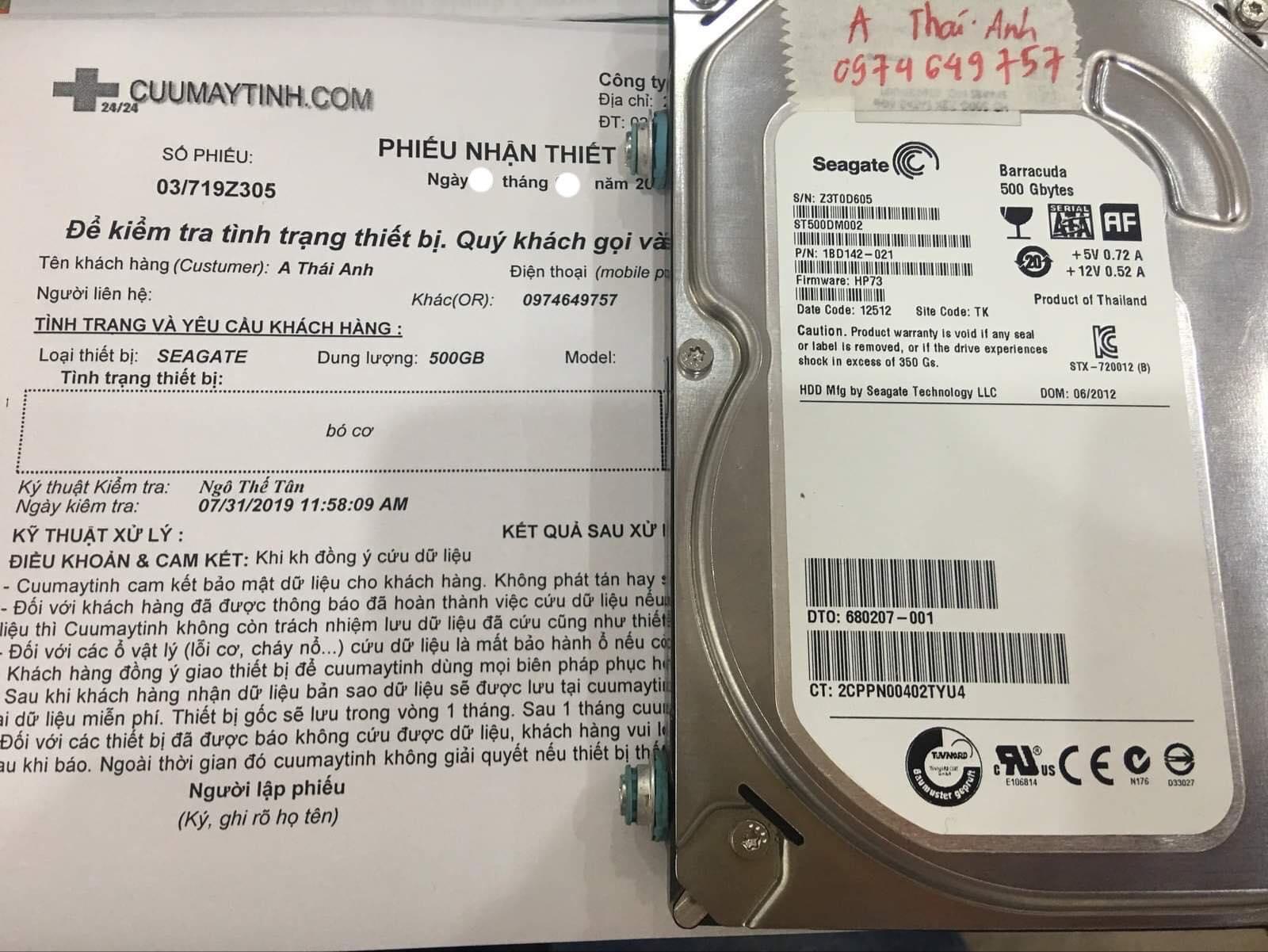 Phục hồi dữ liệu ổ cứng Seagate 500GB bó cơ 10/08/2019 - cuumaytinh
