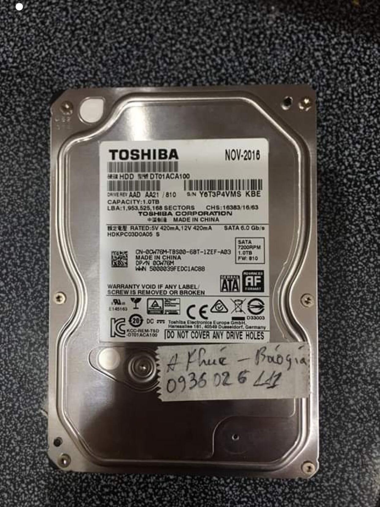 Phục hồi dữ liệu ổ cứng Toshiba 1TB lỗi cơ tại Bắc Ninh 01/08/2019 - cuumaytinh