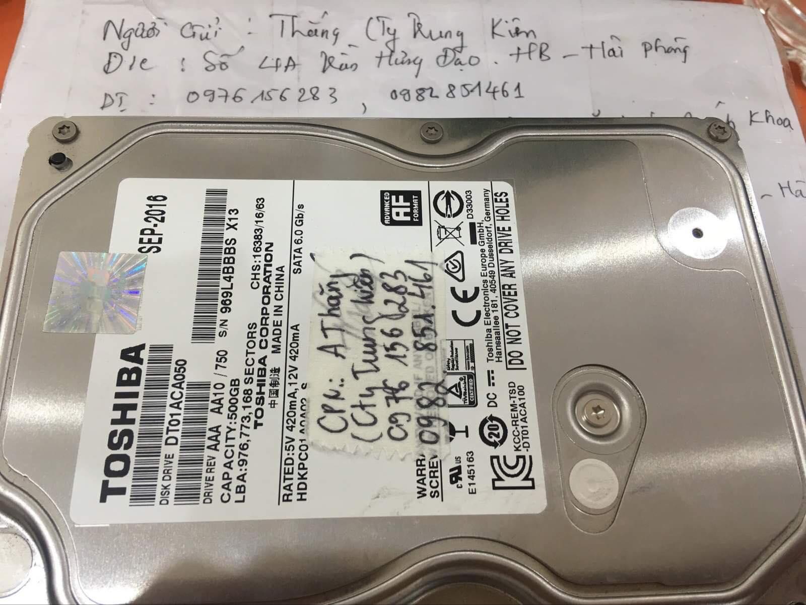 Phục hồi dữ liệu ổ cứng Toshiba 500GB lỗi đầu đọc tại Hải Phòng 23/08/2019 - cuumaytinh