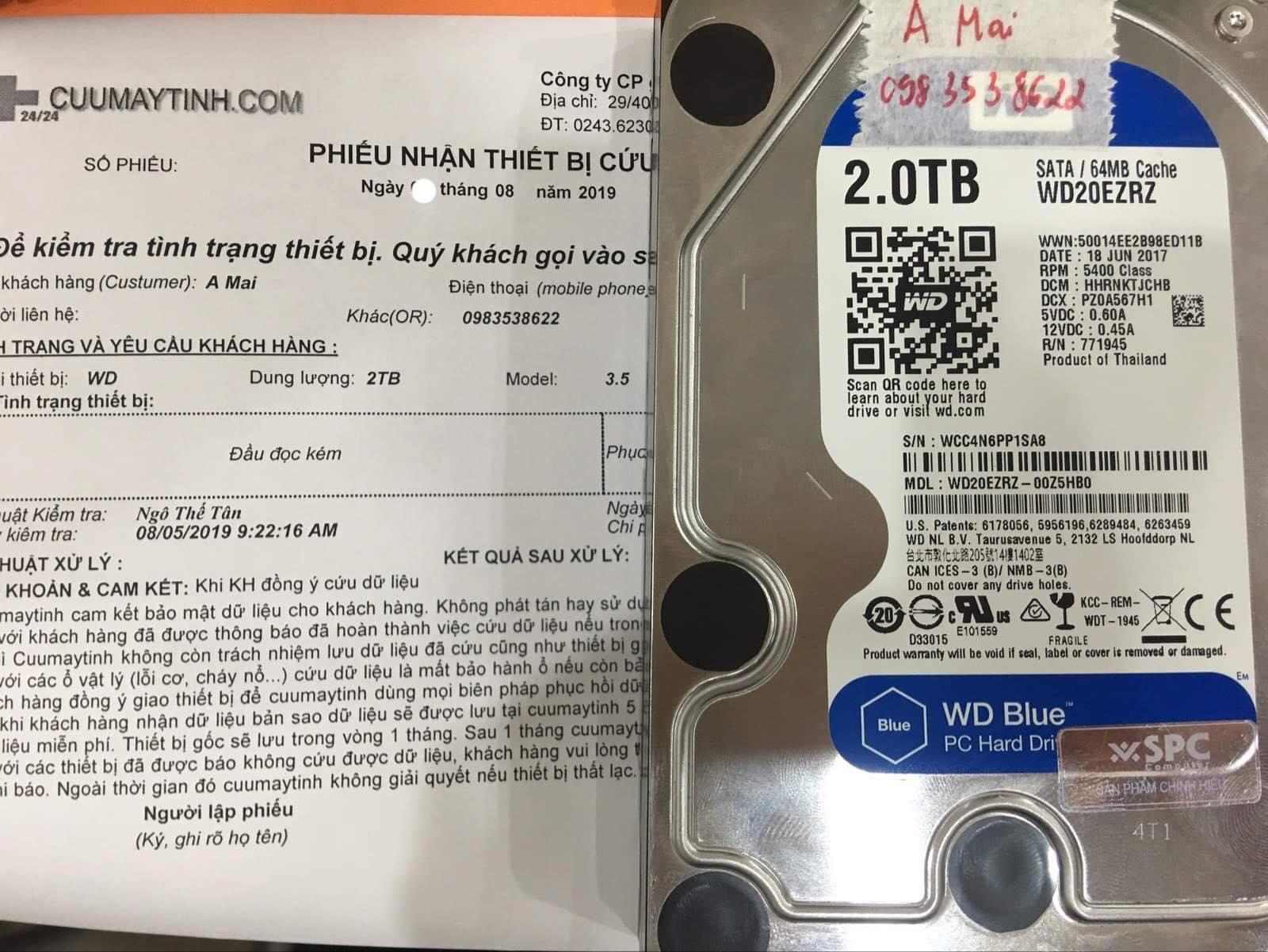 Phục hồi dữ liệu ổ cứng Western 2TB đầu đọc kém 09/08/2019 - cuumaytinh