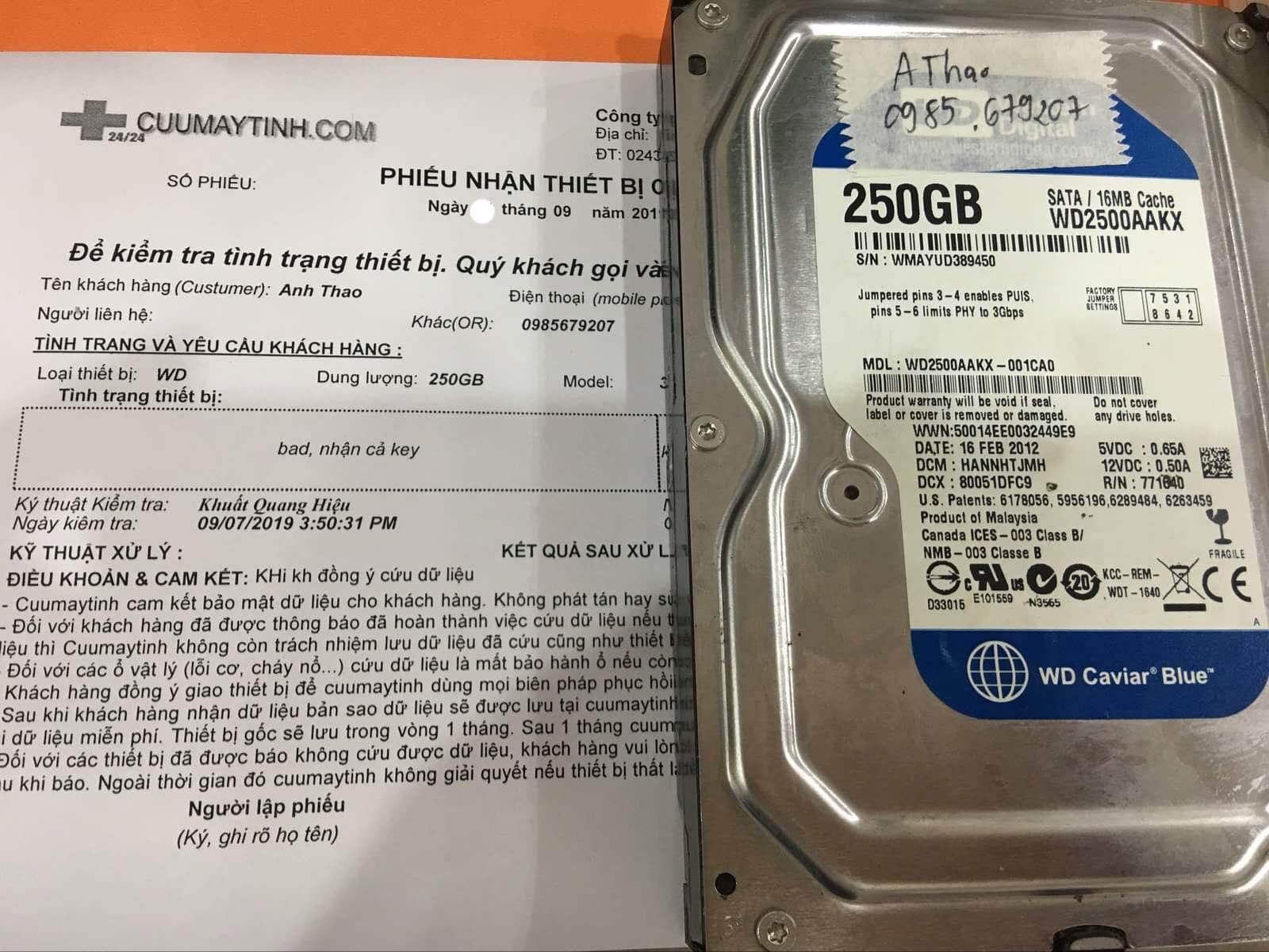 Khôi phục dữ liệu ổ cứng Western 250GB bad 11/09/2019 - cuumaytinh
