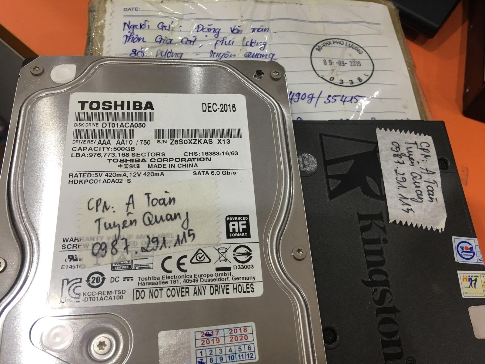 Phục hồi dữ liệu ổ cứng Toshiba 500GB lỗi đầu đọc tại Tuyên Quang 16/08/2019 - cuumaytinh