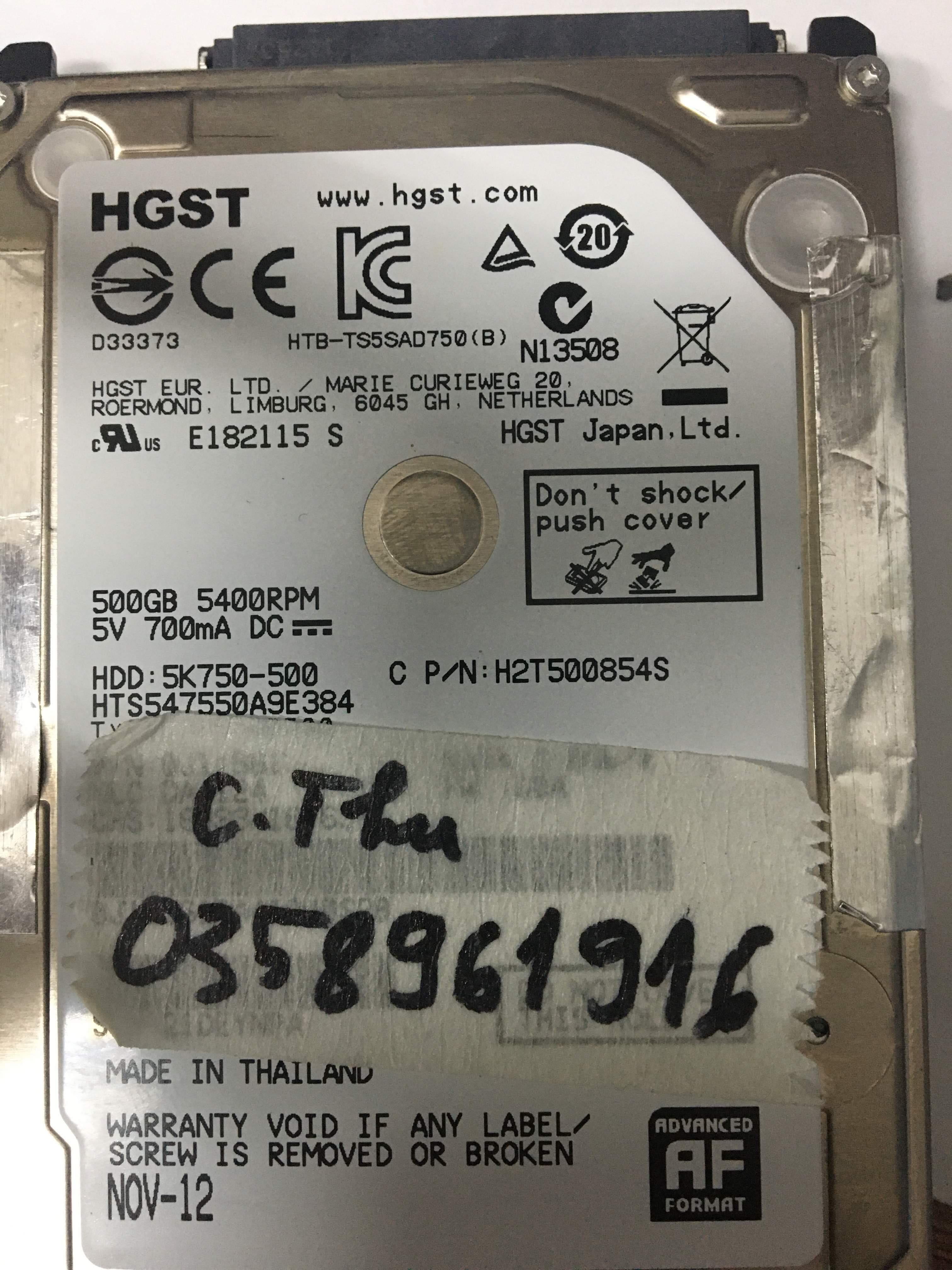 Cứu dữ liệu ổ cứng HGST 500GB đầu đọc kém 27/09/2019 - cuumaytinh