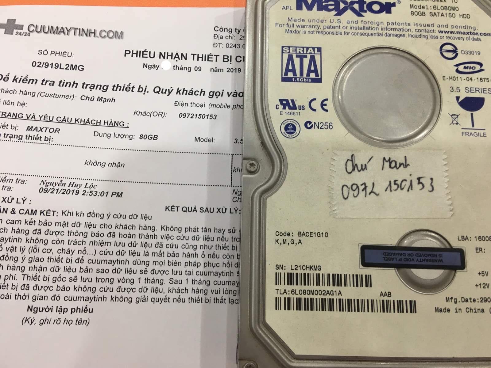 Cứu dữ liệu ổ cứng Maxtor 80GB không nhận 24/09/2019 - cuumaytinh