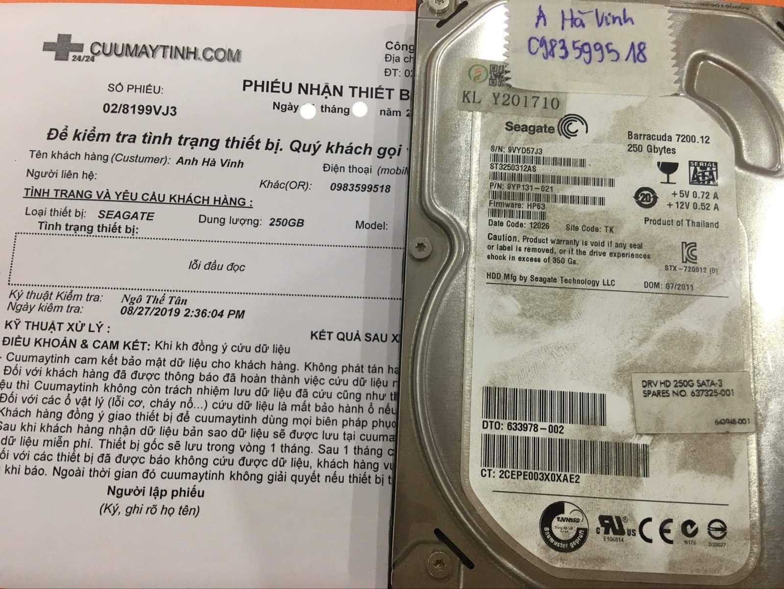 Cứu dữ liệu ổ cứng Seagate 250GB lỗi đầu đọc 04/09/2019 - cuumaytinh